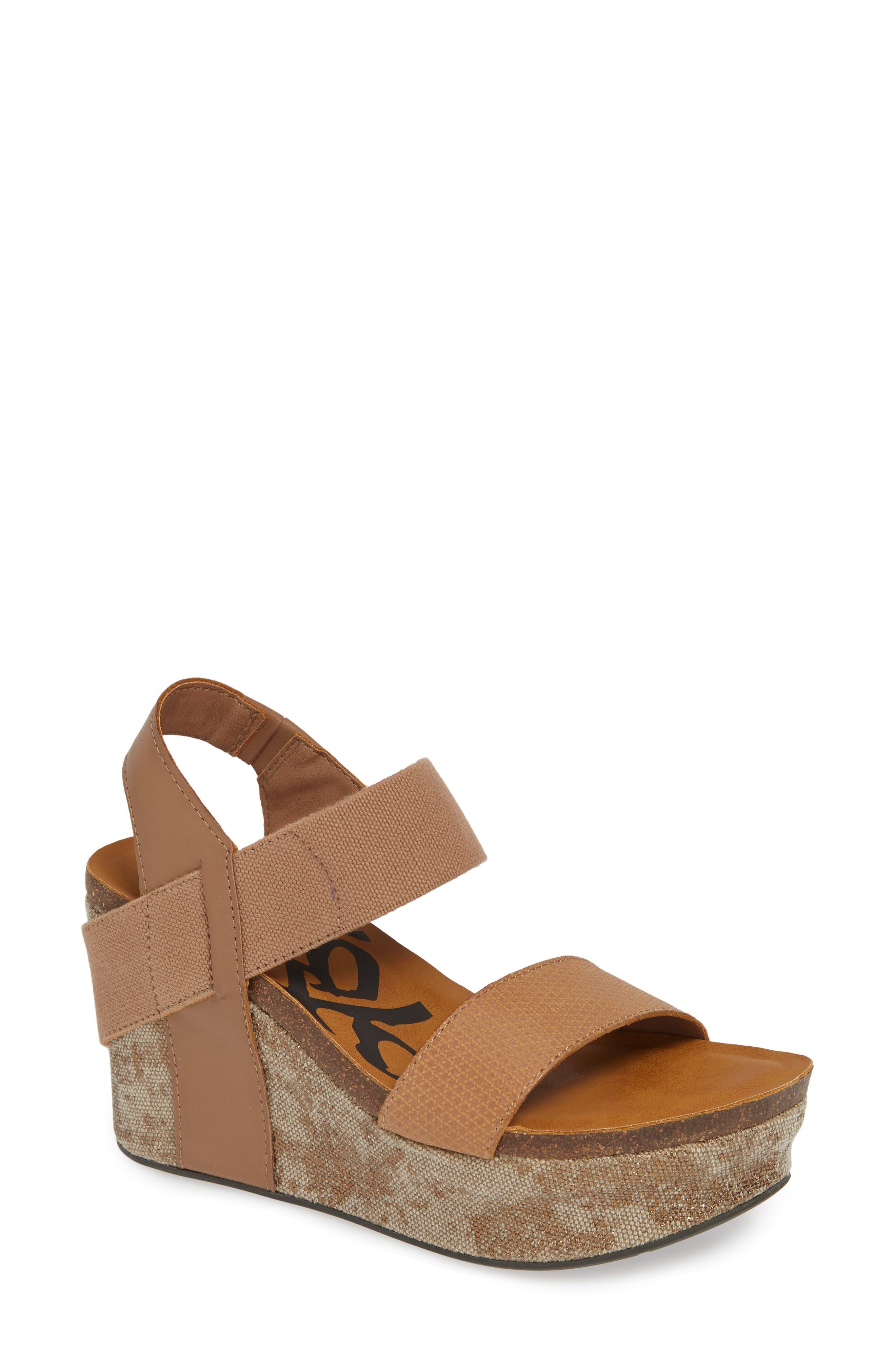 OTBT 'Bushnell' Wedge Sandal, Main, color, TAUPE LEATHER