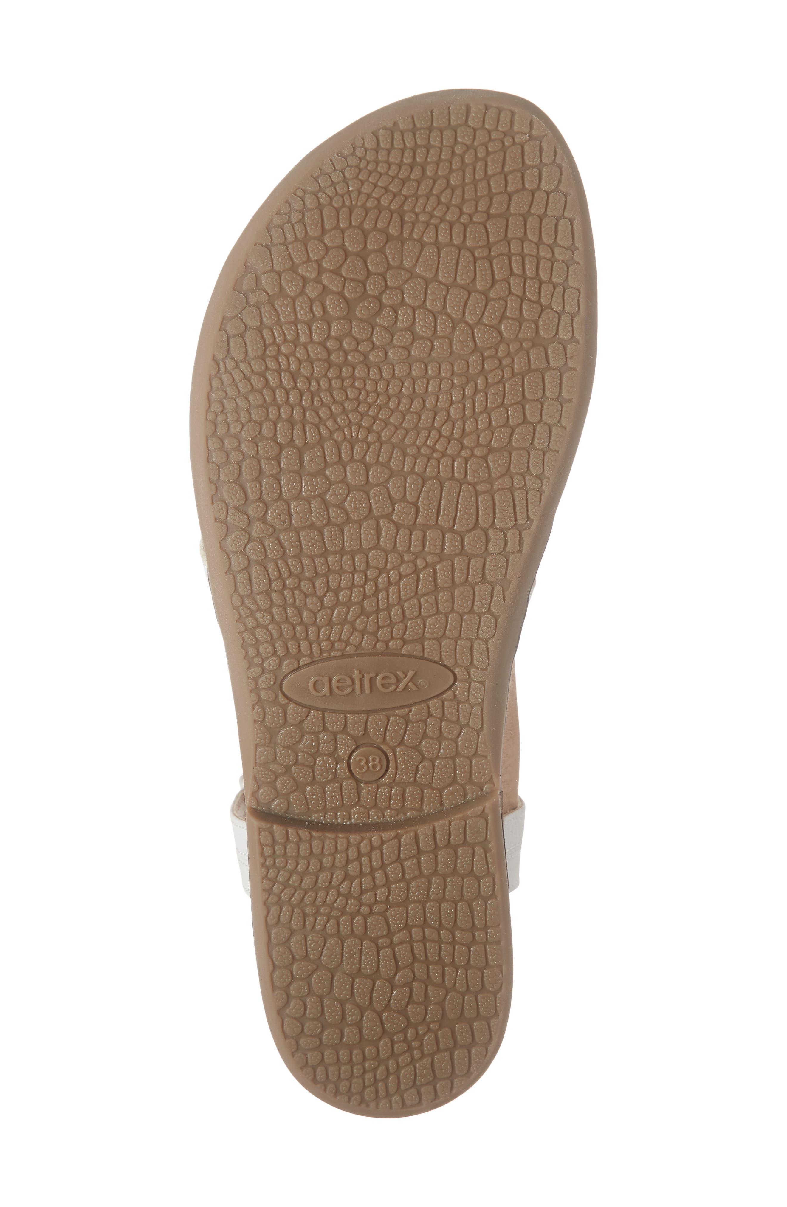 AETREX, Sheila Embellished Sandal, Alternate thumbnail 6, color, WHITE LEATHER