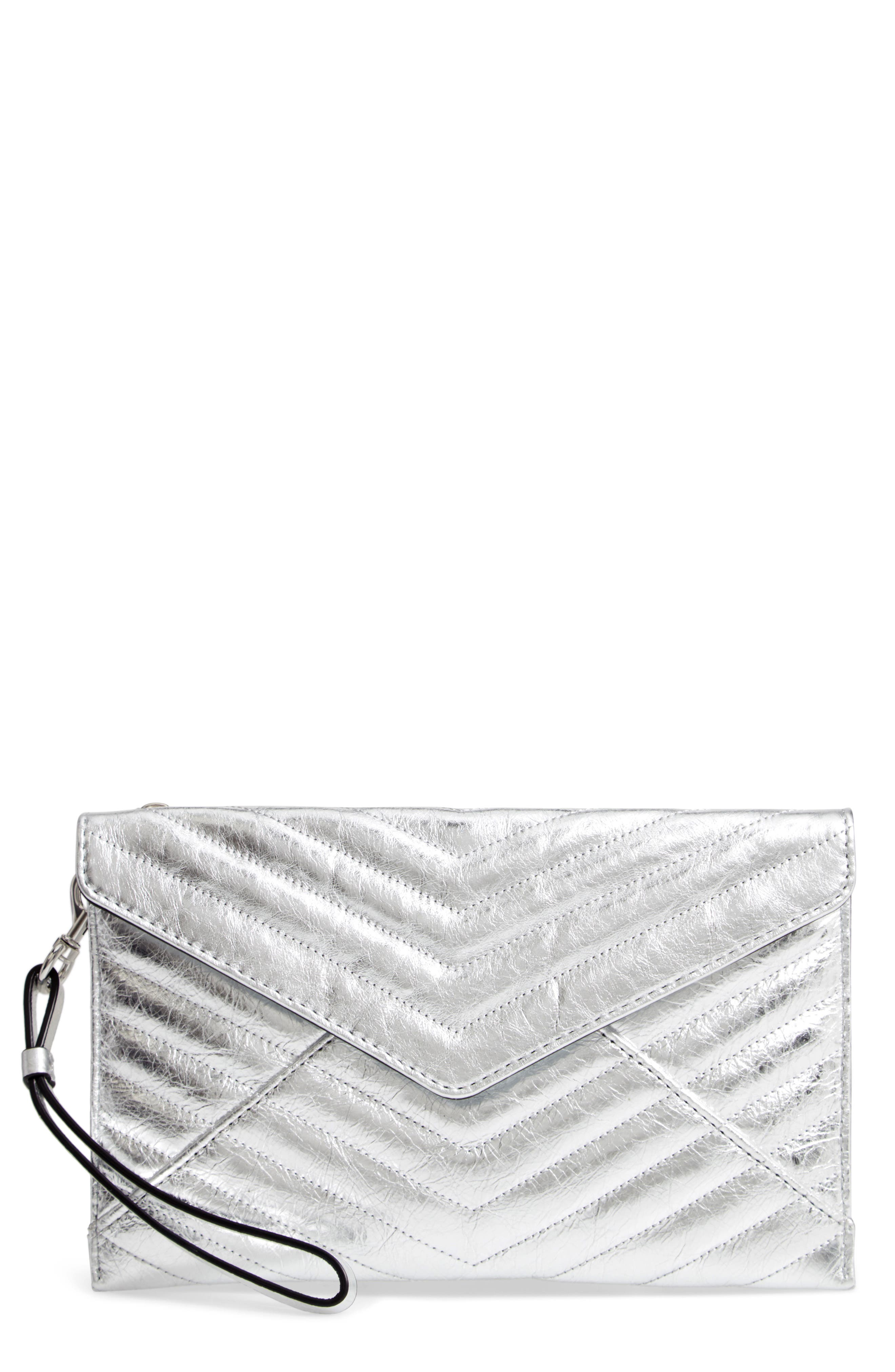REBECCA MINKOFF, Leo Quilted Leather Clutch, Main thumbnail 1, color, SILVER
