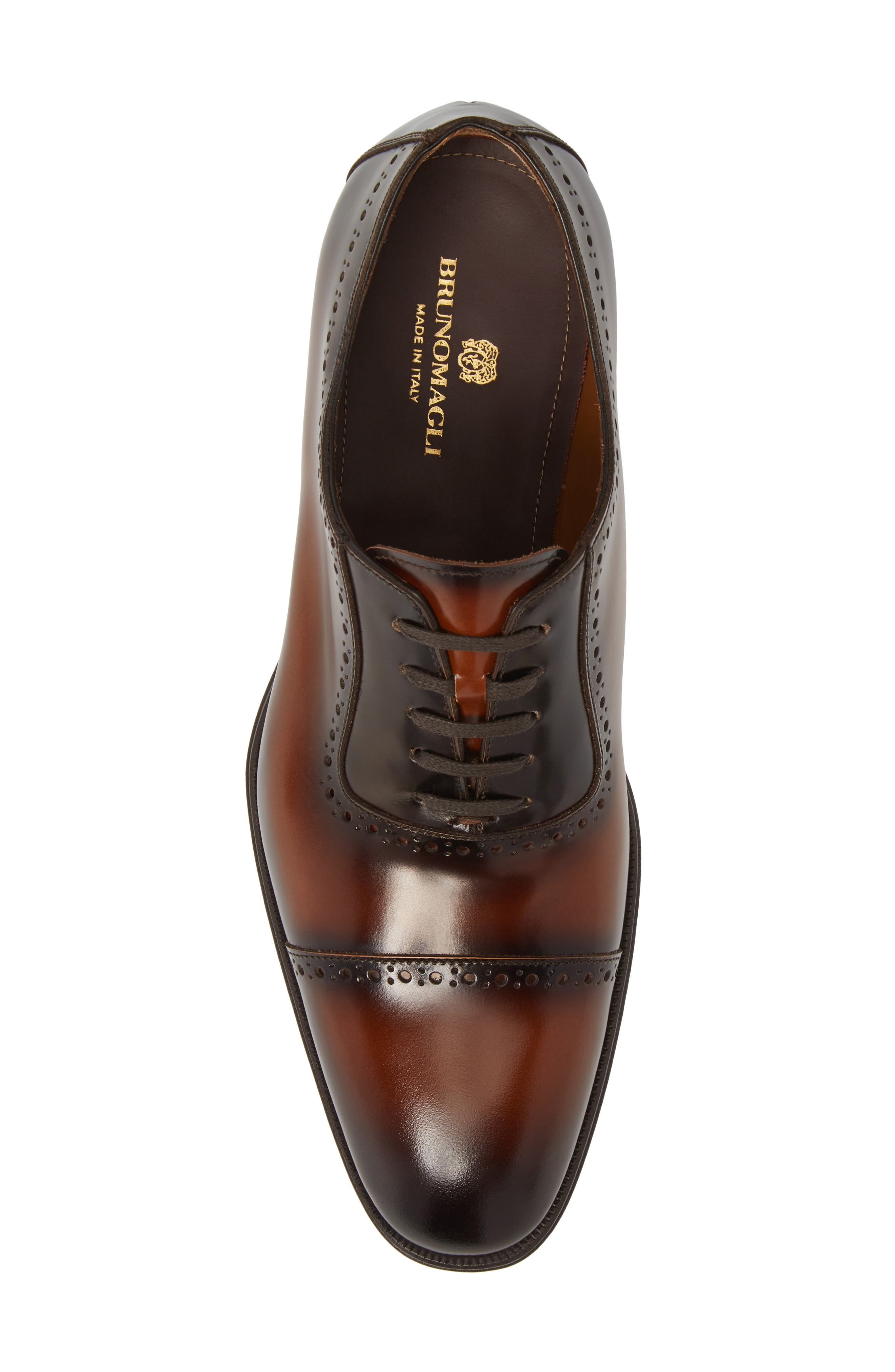 BRUNO MAGLI, Lucca Cap Toe Oxford, Alternate thumbnail 5, color, COGNAC