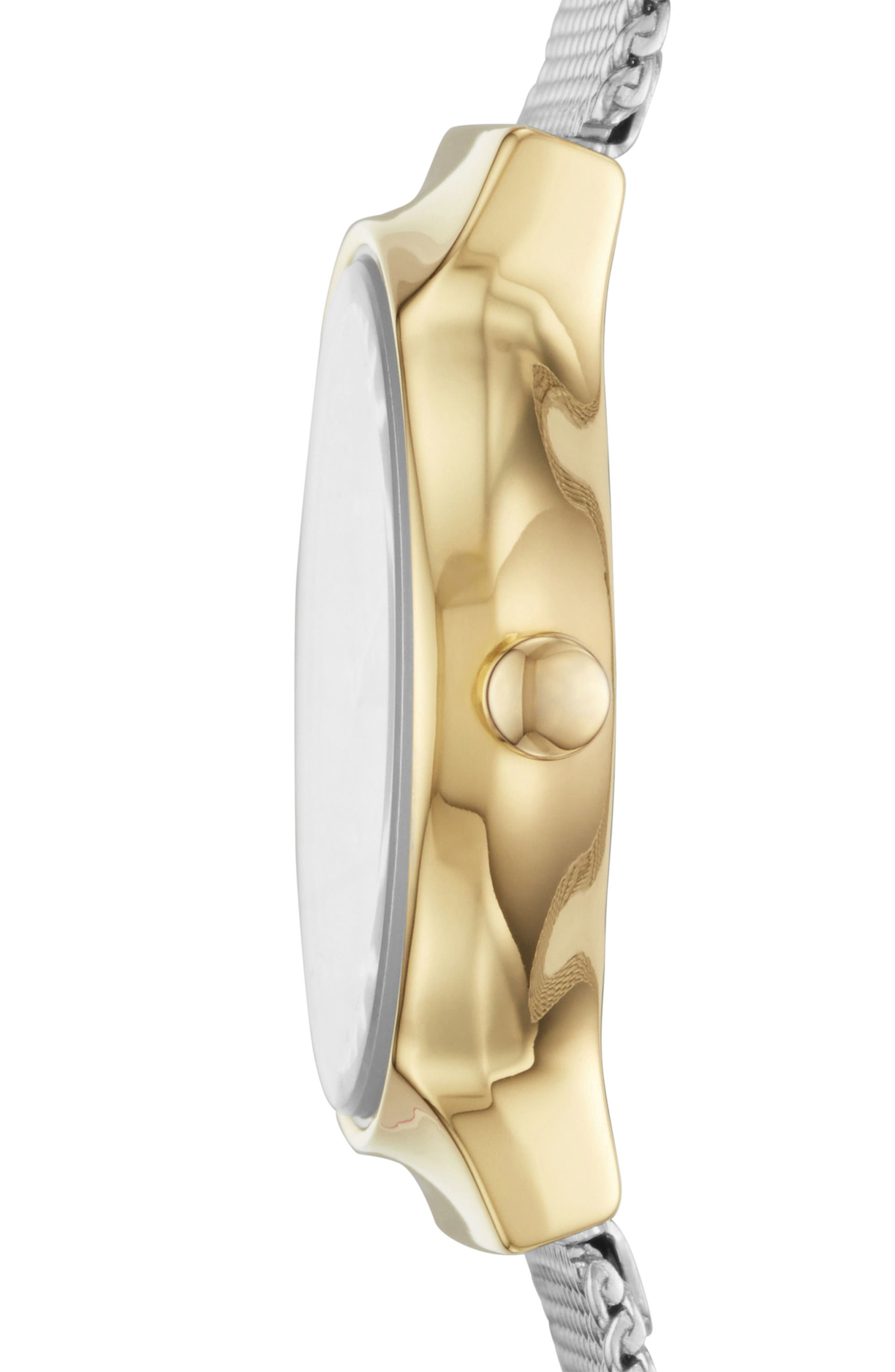 SKAGEN, Freja Crystal Accent Mesh Strap Watch, 26mm, Alternate thumbnail 2, color, SILVER/ WHITE/ GOLD