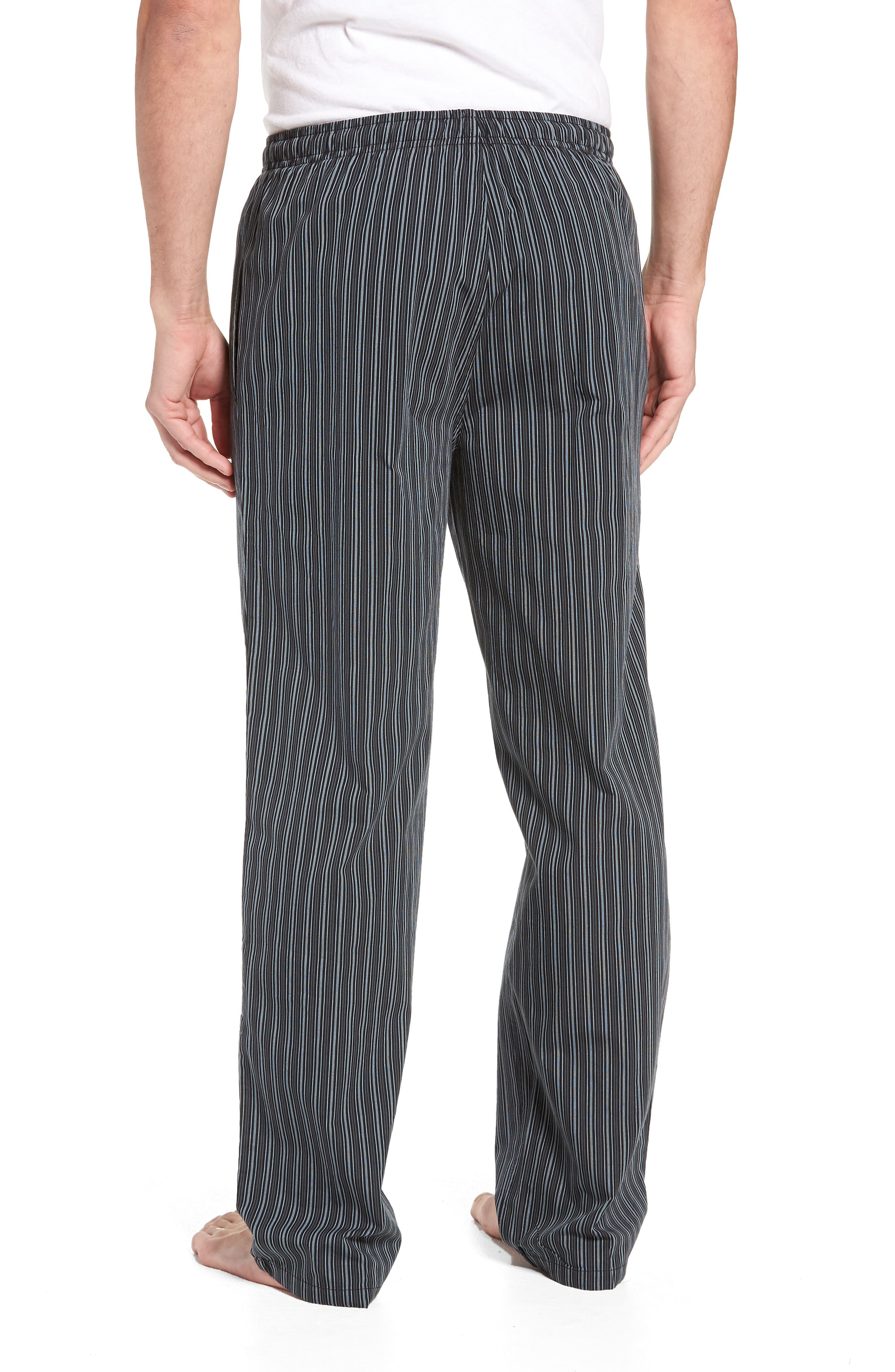 NORDSTROM MEN'S SHOP, Poplin Pajama Pants, Alternate thumbnail 2, color, GREY- BLACK STRIPE
