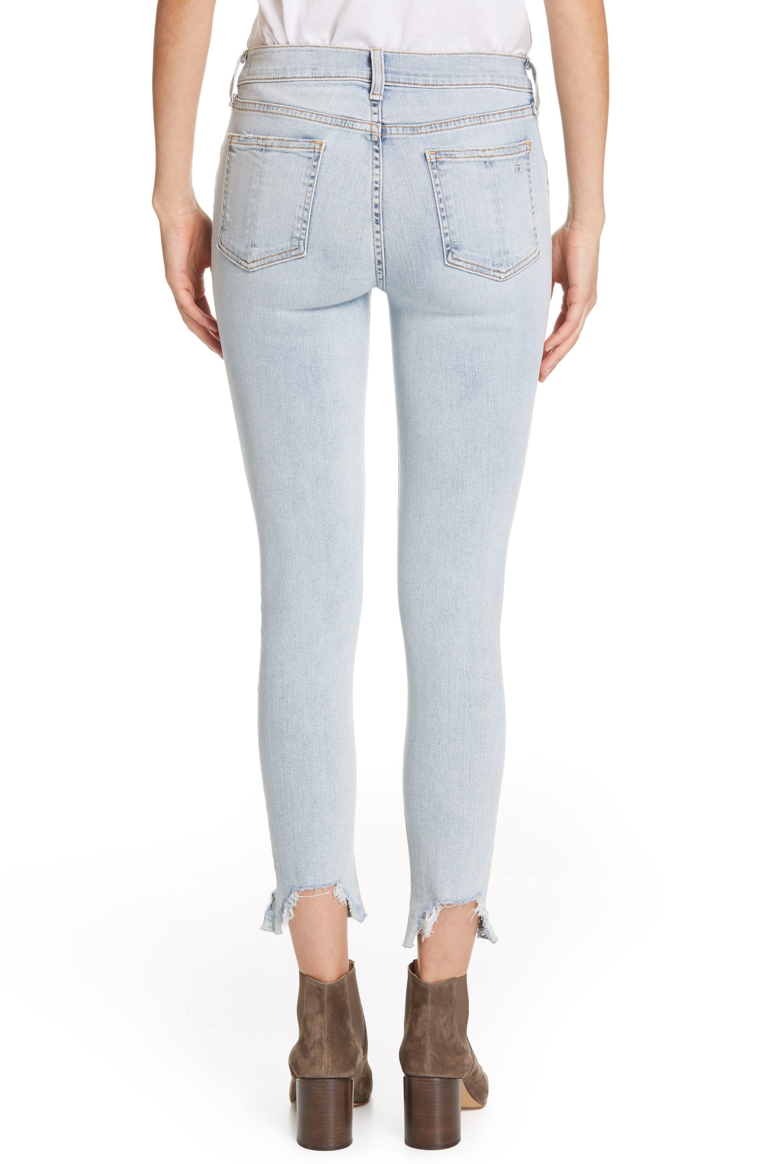 RAG & BONE, JEAN Ripped Ankle Skinny Jeans, Alternate thumbnail 2, color, 450