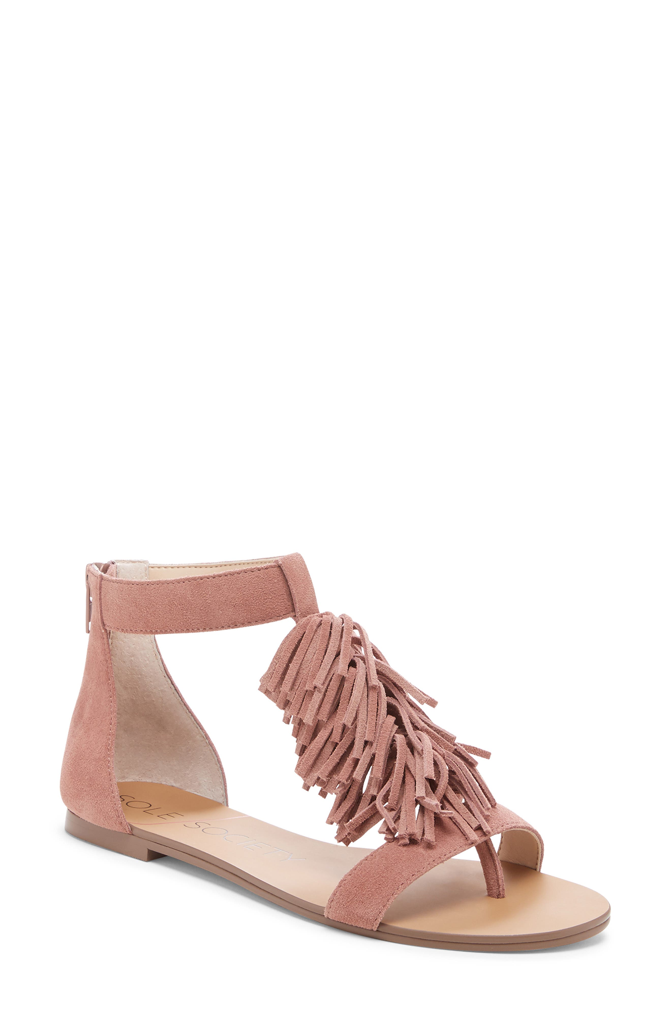 SOLE SOCIETY, 'Koa' Fringe T-Strap Flat Sandal, Main thumbnail 1, color, MOD MAUVE SUEDE