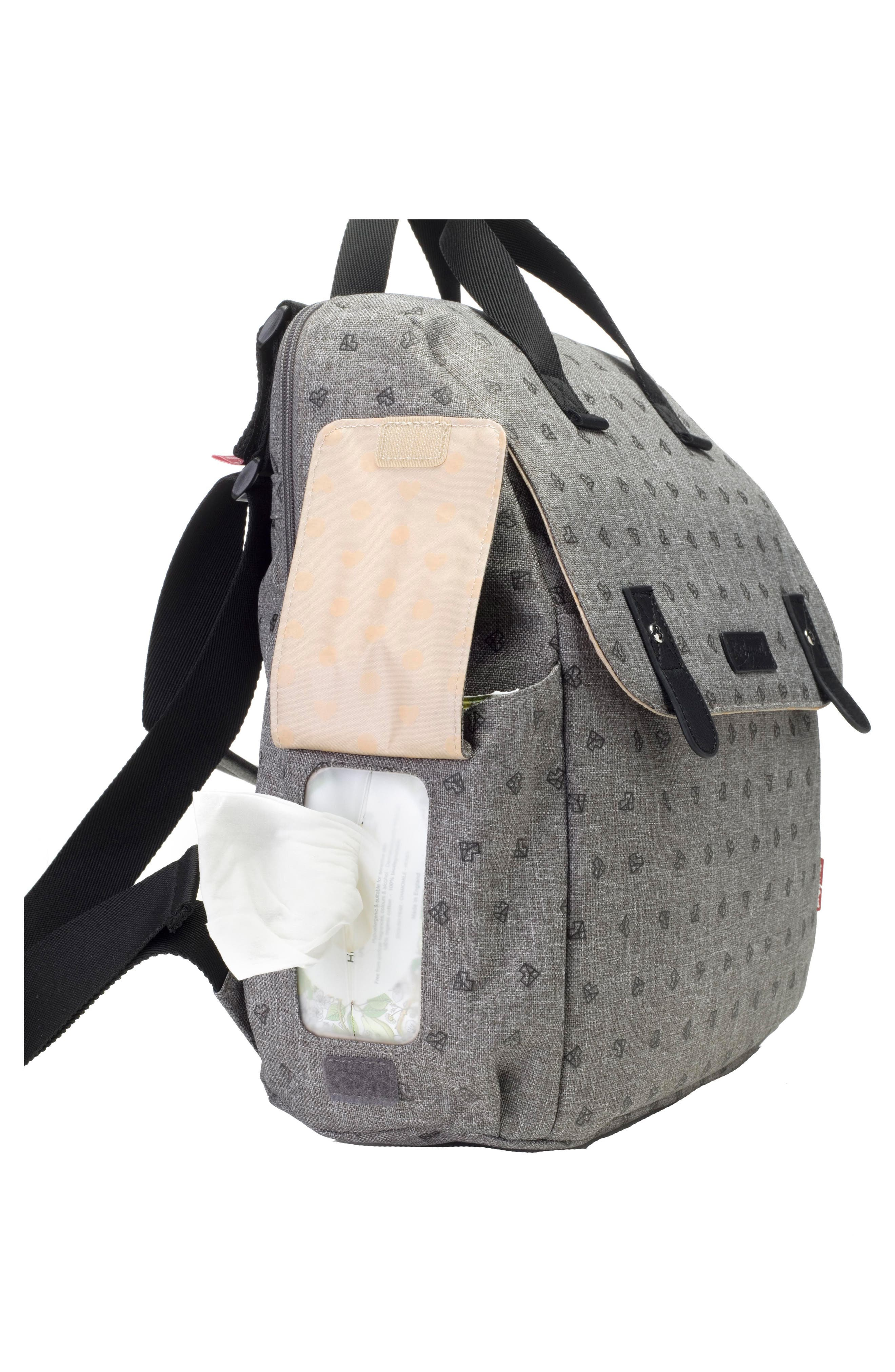 BABYMEL, Robyn Convertible Diaper Backpack, Alternate thumbnail 8, color, GREY ORIGAMI HEART