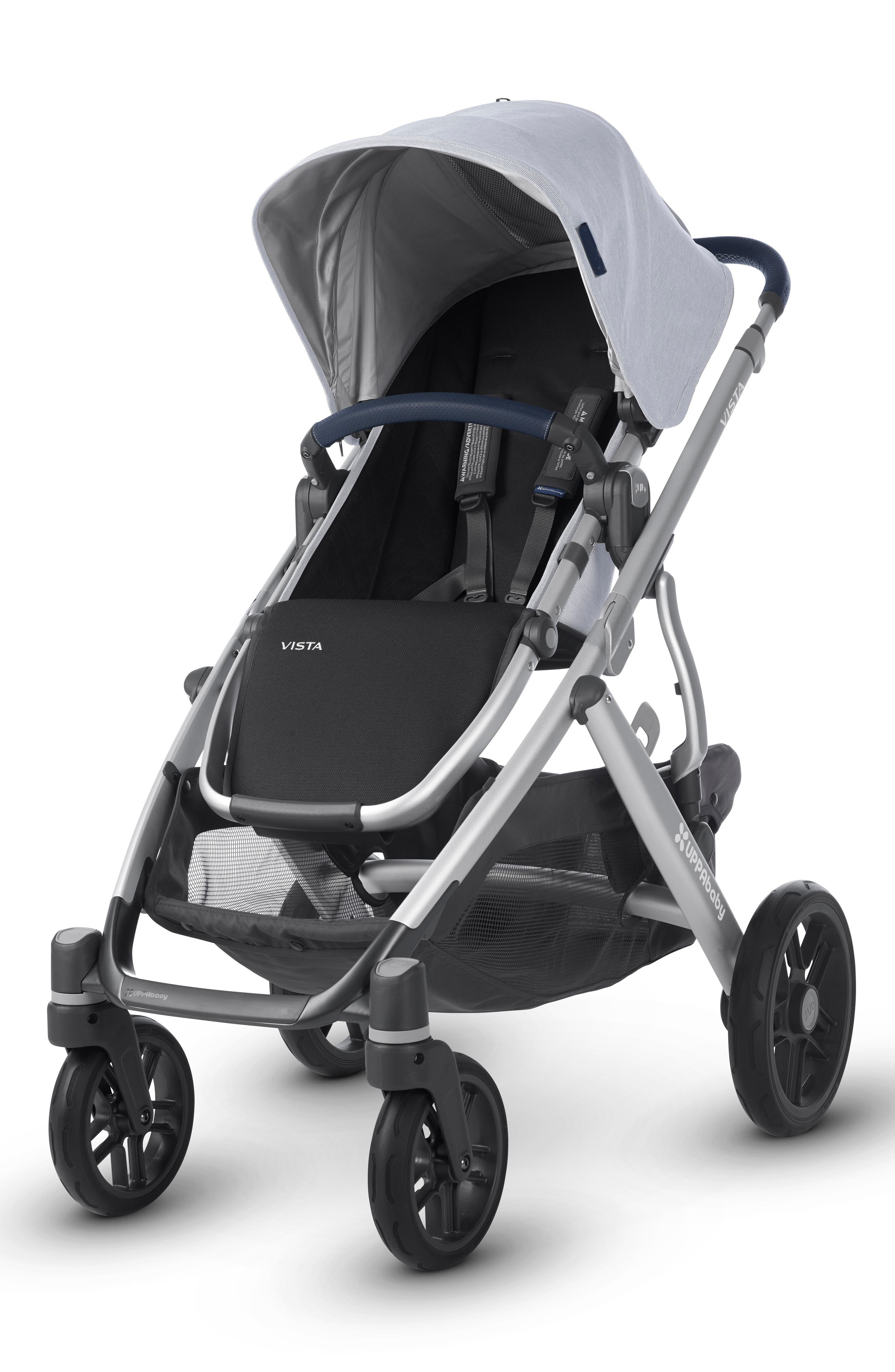 UPPABABY VISTA Aluminum Frame Convertible Complete Stroller with Leather Trim, Main, color, WILLIAM BLUE/ SILVER