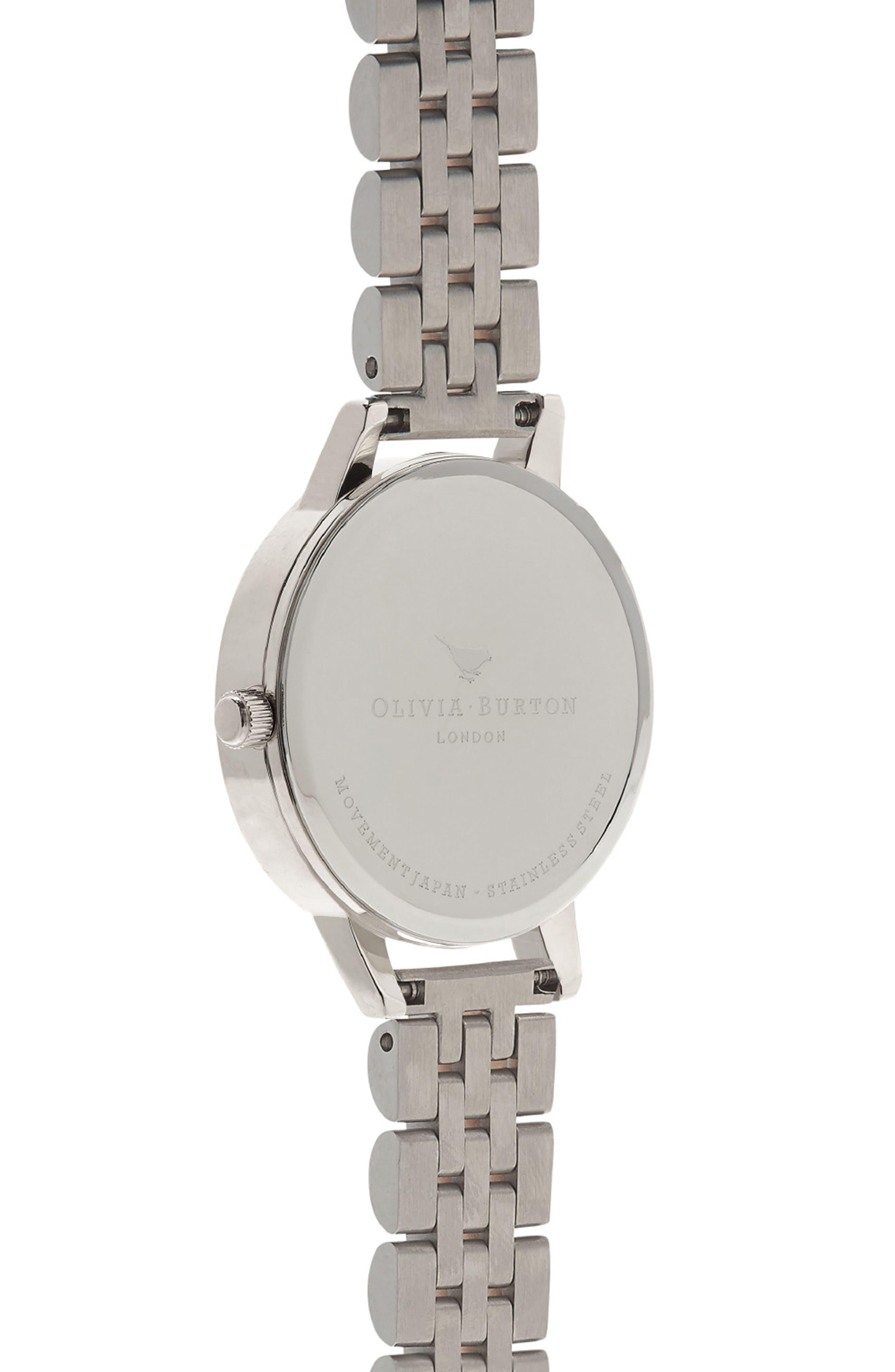 OLIVIA BURTON, Wonderland Bracelet Watch, 30mm, Alternate thumbnail 3, color, ROSE GOLD/ SILVER