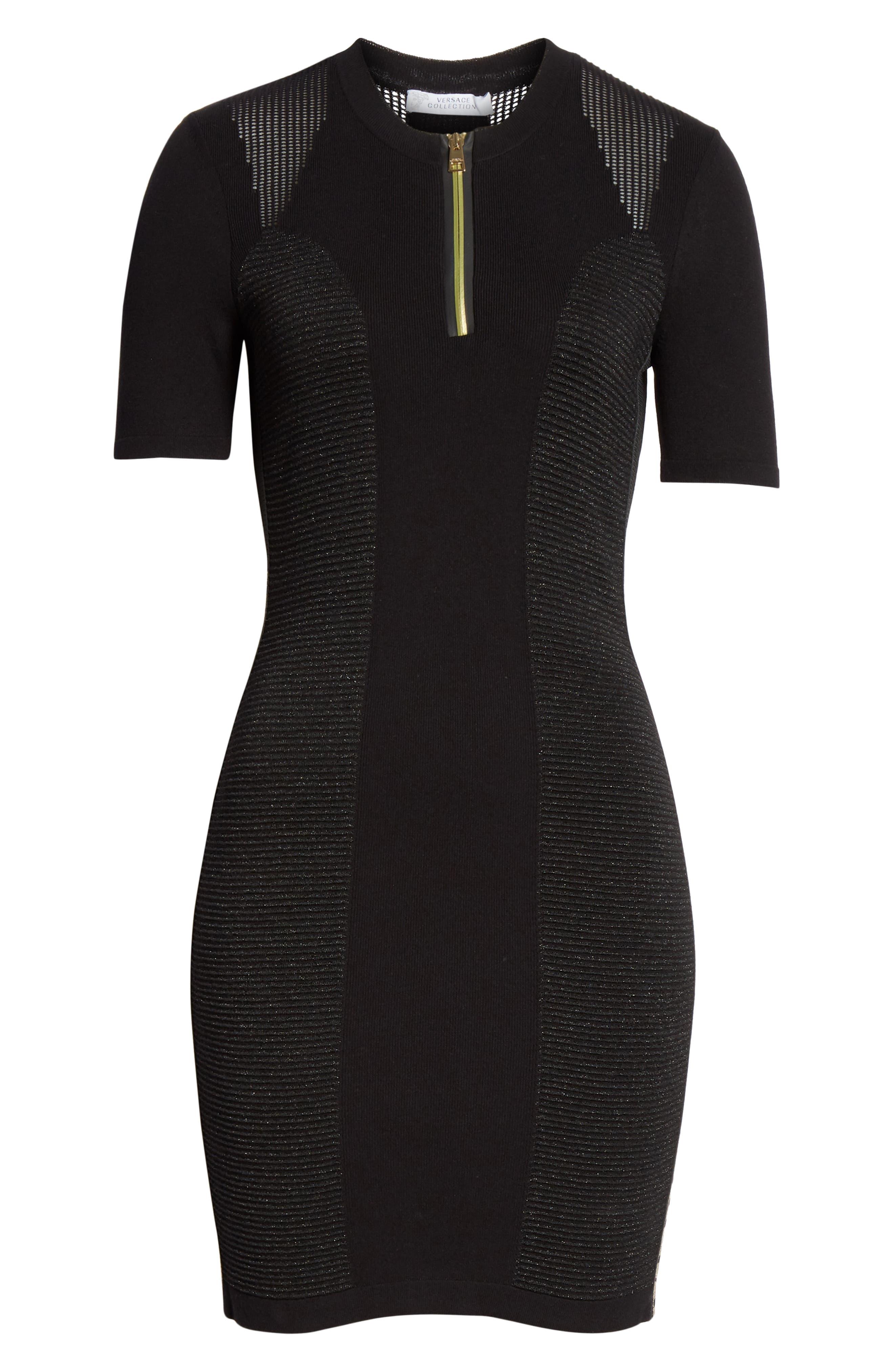 VERSACE COLLECTION, Logo Trim Body-Con Dress, Alternate thumbnail 7, color, BLACK