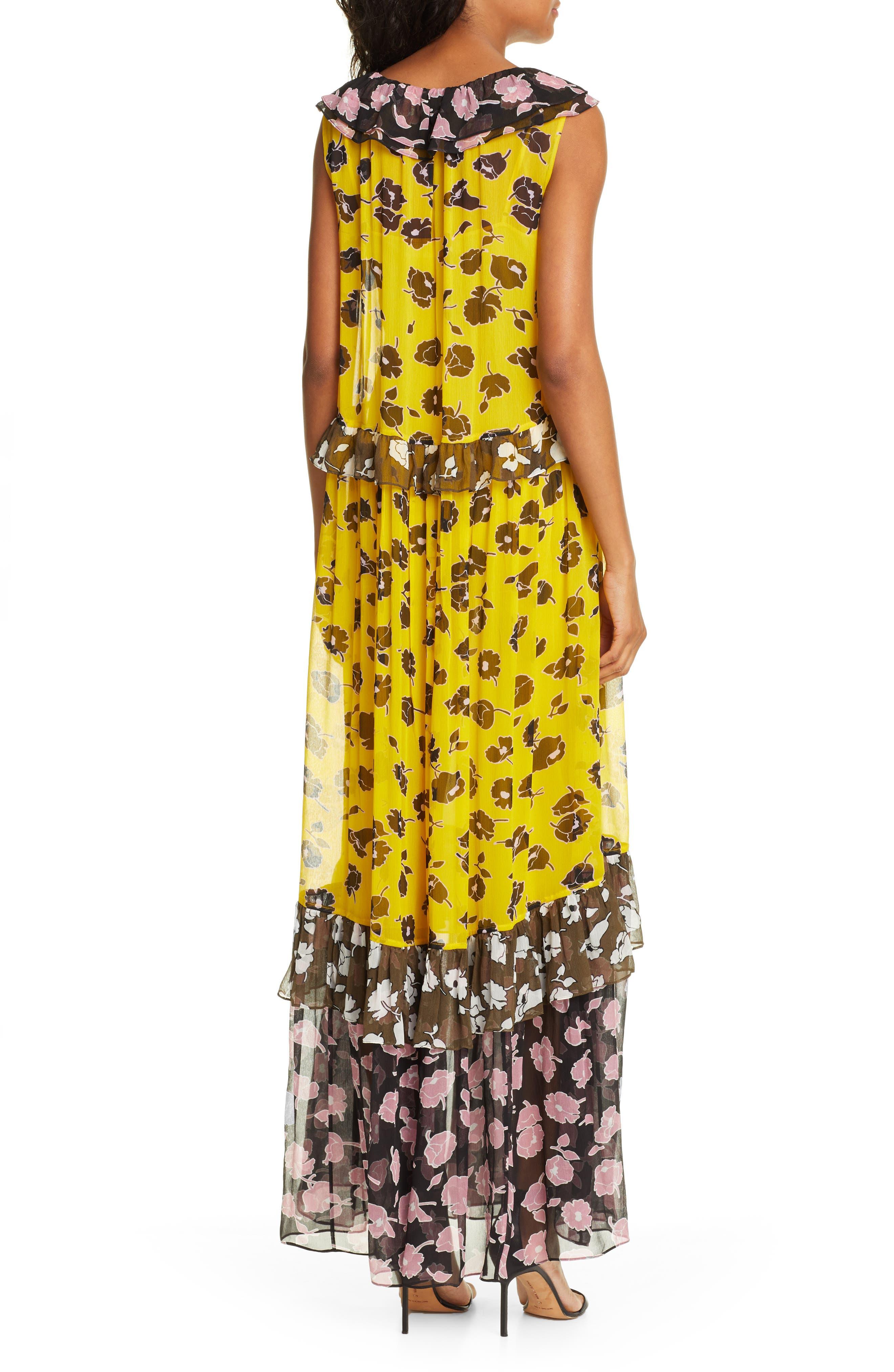 DVF, Drea Pattern Mix Tiered Silk Maxi Dress, Alternate thumbnail 2, color, ROSE SHOWERS GOLDENROD MULTI