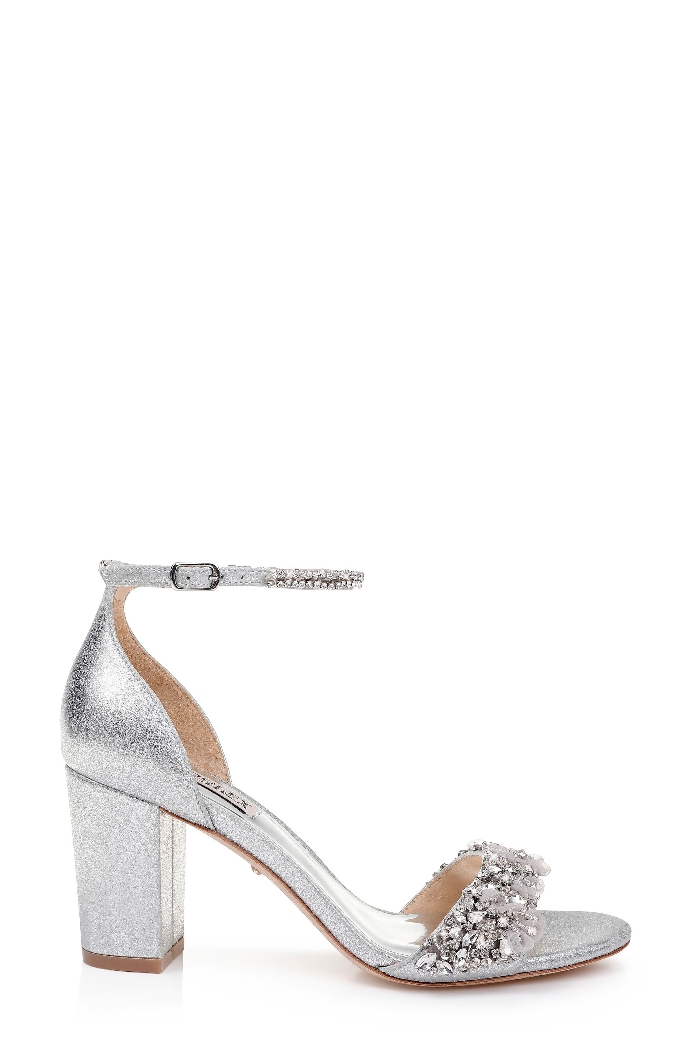 BADGLEY MISCHKA COLLECTION, Badgley Mischka Finesse Embellished Ankle Strap Sandal, Alternate thumbnail 3, color, SILVER METALLIC SATIN