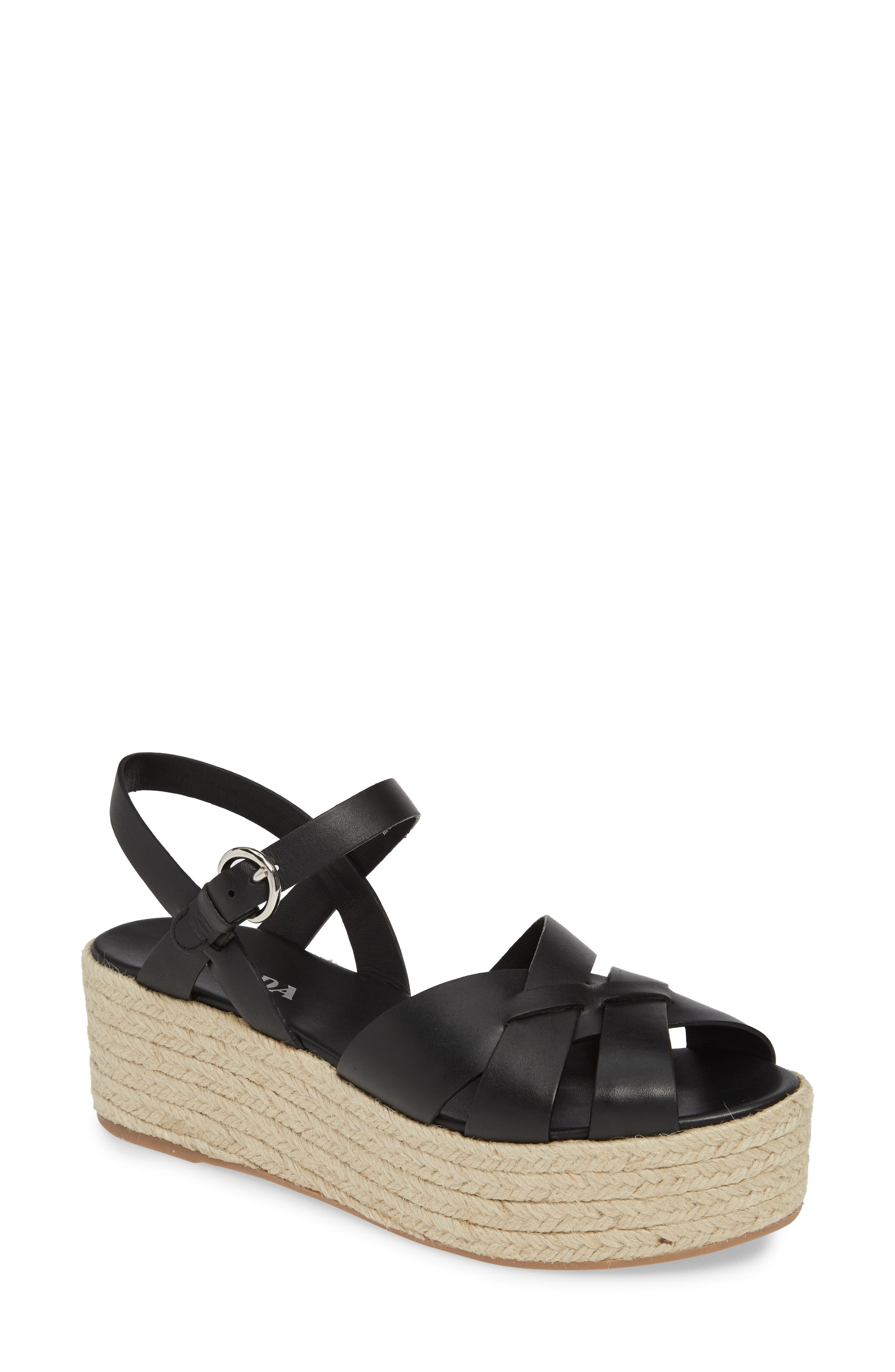 PRADA Platform Espadrille Sandal, Main, color, BLACK