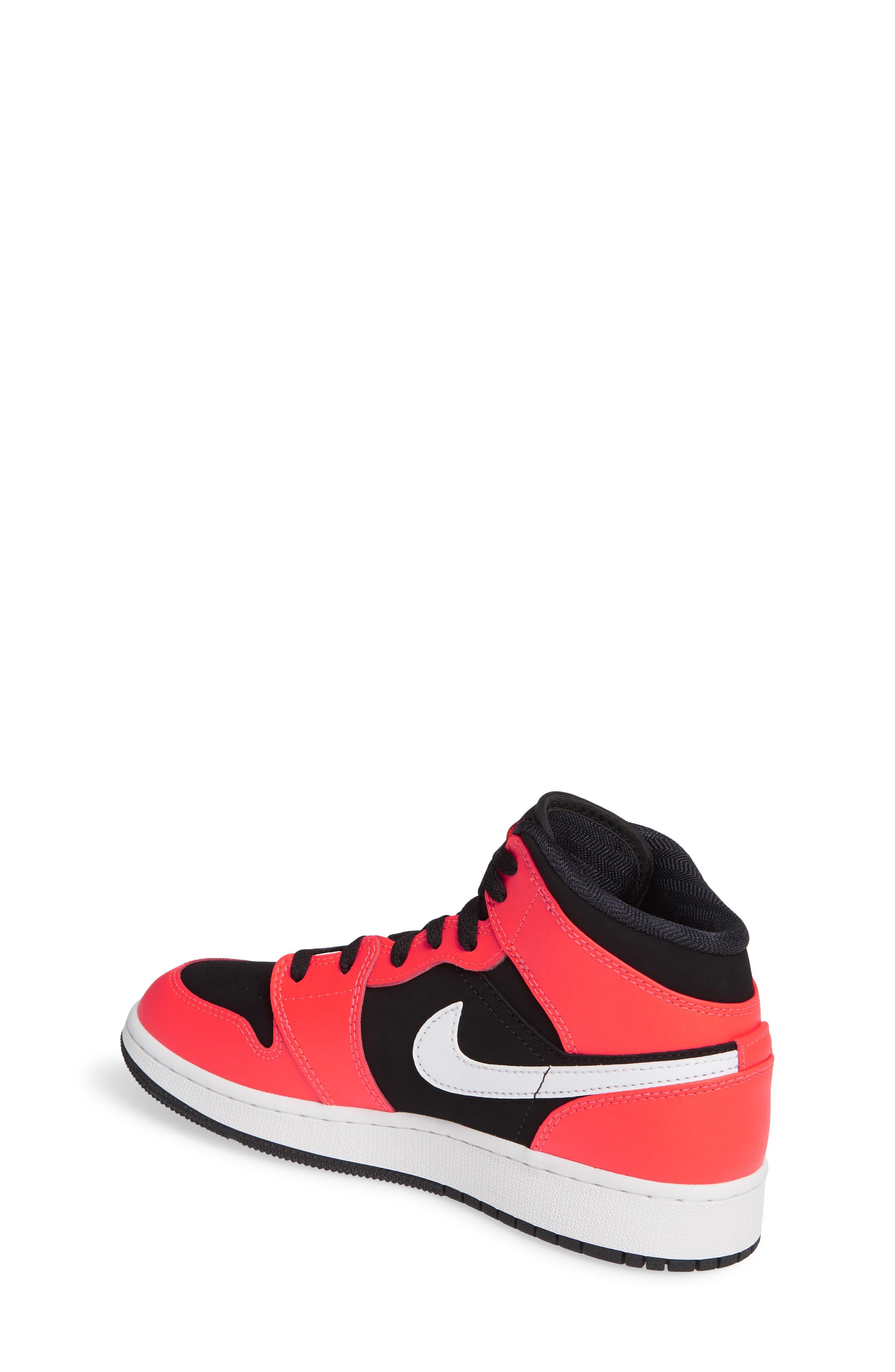 JORDAN, Nike 'Air Jordan 1 Mid' Sneaker, Alternate thumbnail 2, color, BLACK/ INFRARED 23-WHITE