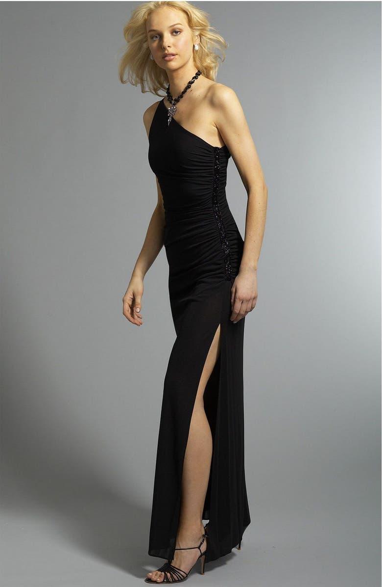 b04122867e3 LAUNDRY BY SHELLI SEGAL One Shoulder Matte Jersey Dress, Main, color, BLK