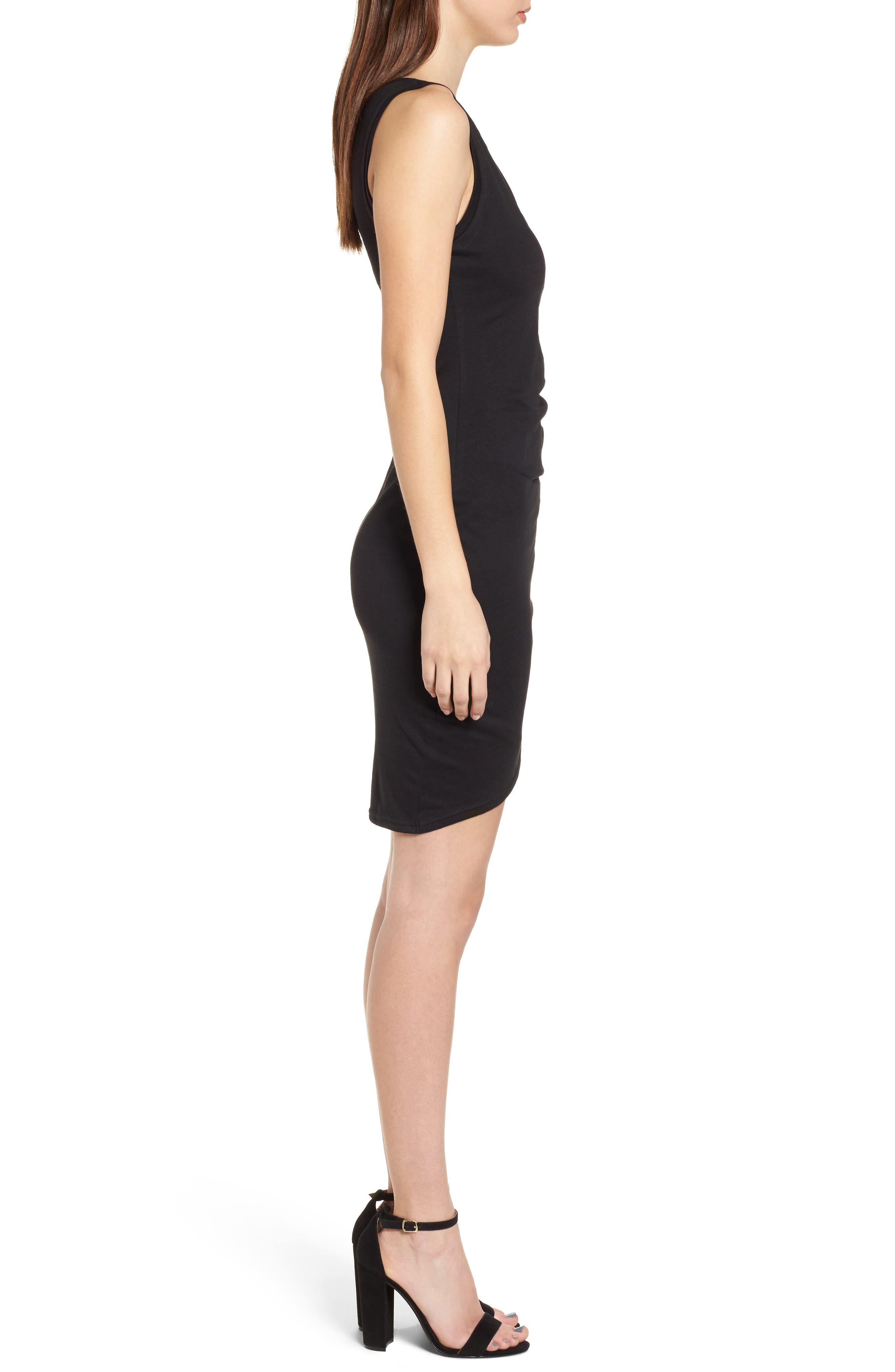 LEITH, Ruched Body-Con Tank Dress, Alternate thumbnail 4, color, BLACK