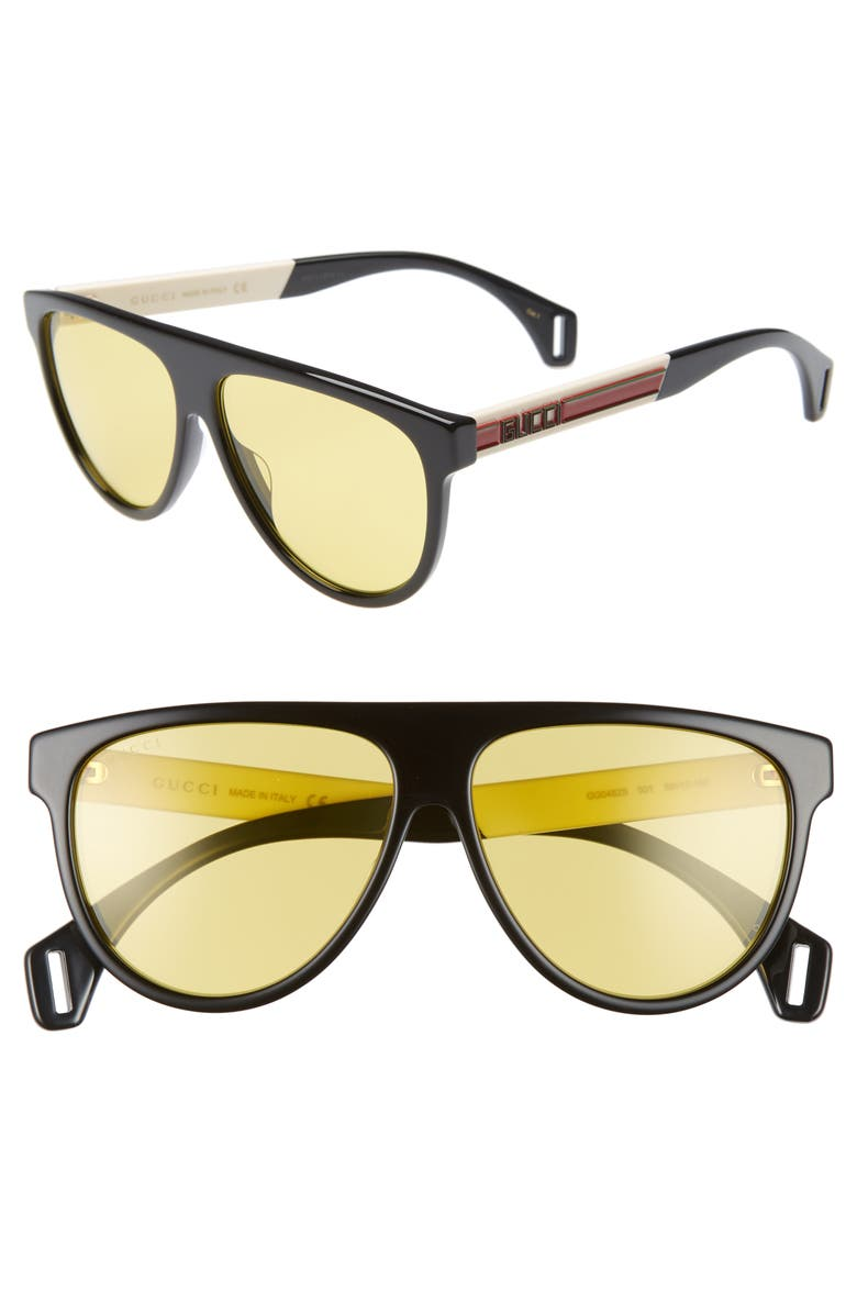 4554e225987 Gucci Men s Nylon Flat-Top Rounded Sunglasses In Black  Yellow ...
