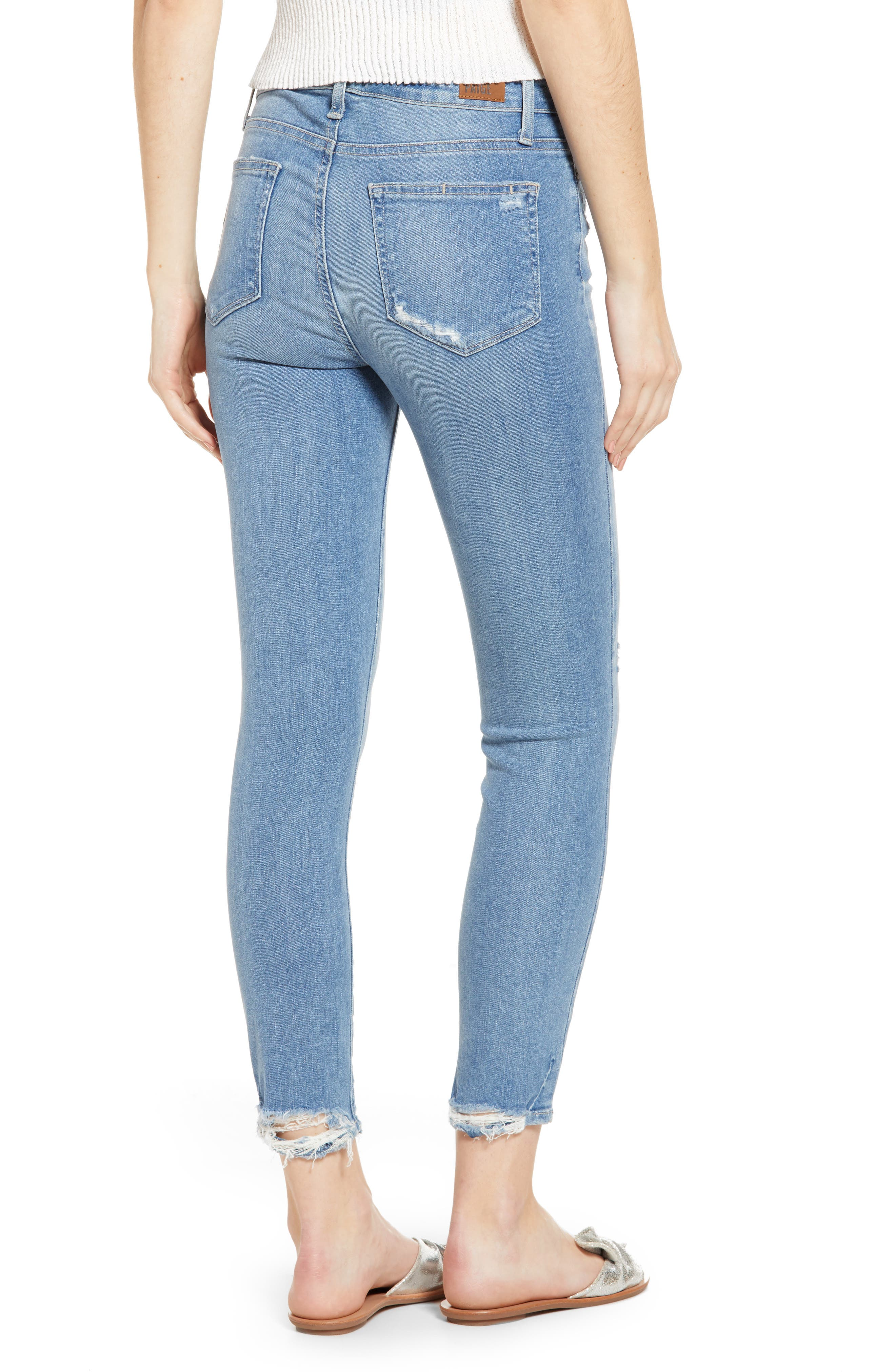 PAIGE, Hoxton Transcend Vintage High Waist Crop Skinny Jeans, Alternate thumbnail 2, color, ATTERBURY W/ TORN BACK HEM