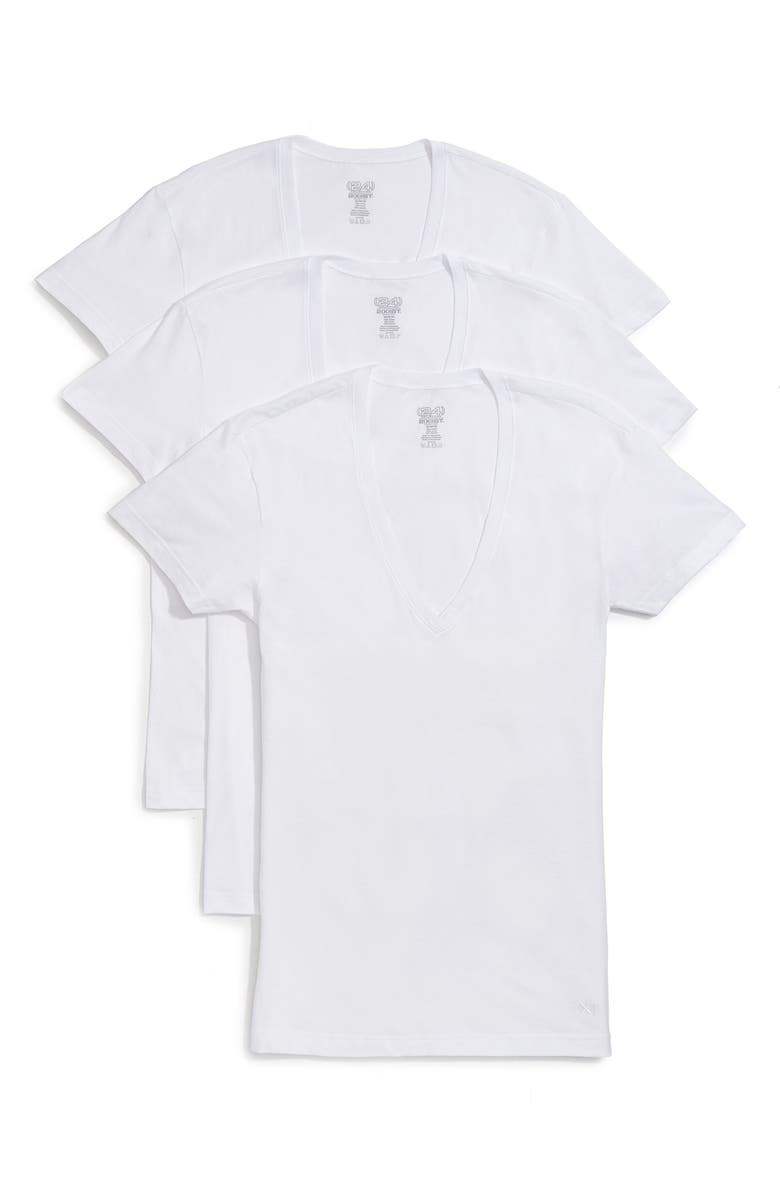 2(X)ist T-shirts 2(X)IST 3-PACK SLIM FIT DEEP V-NECK T-SHIRT