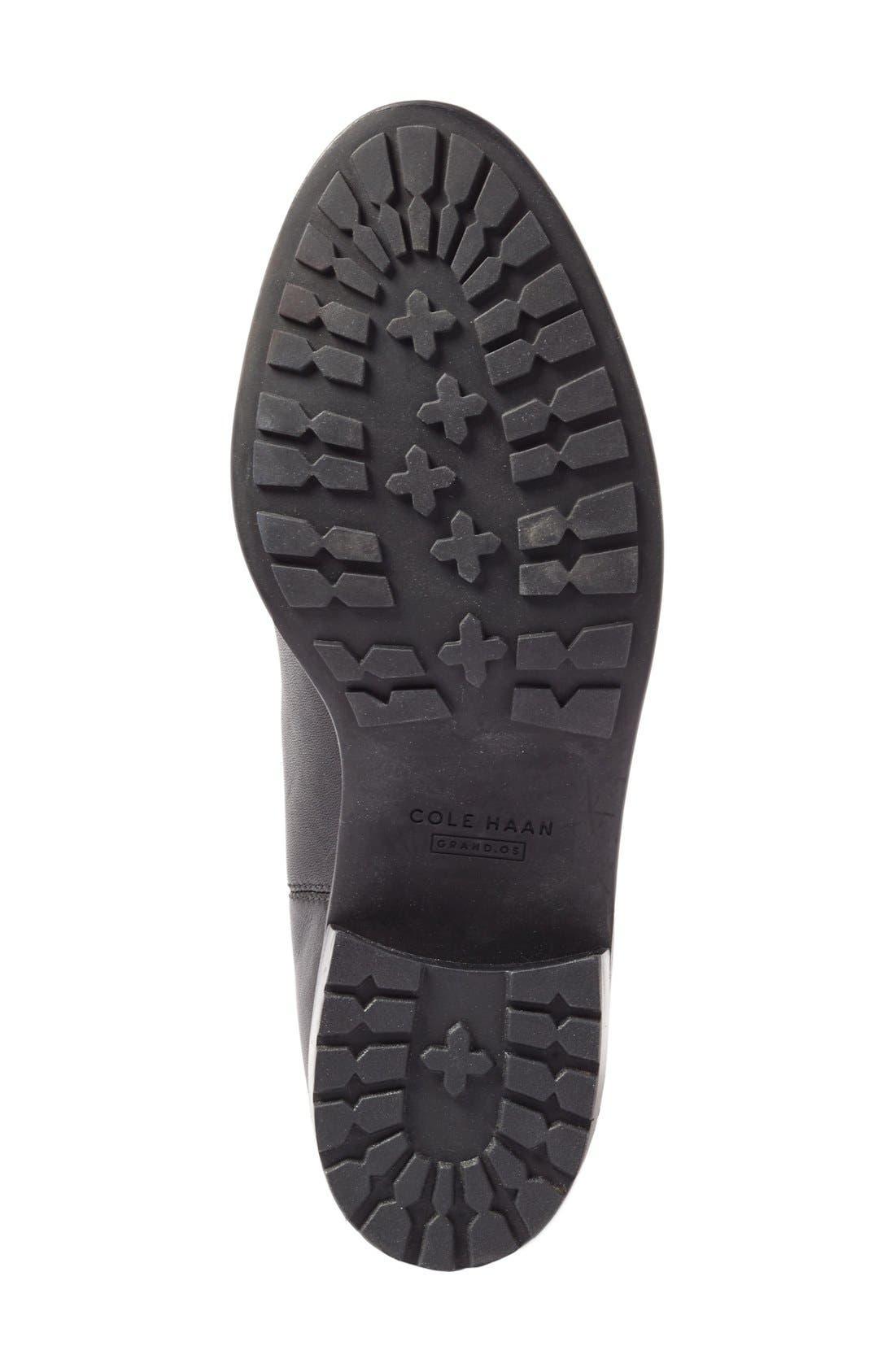 COLE HAAN, Newburg Waterproof Chelsea Boot, Alternate thumbnail 4, color, BLACK LEATHER