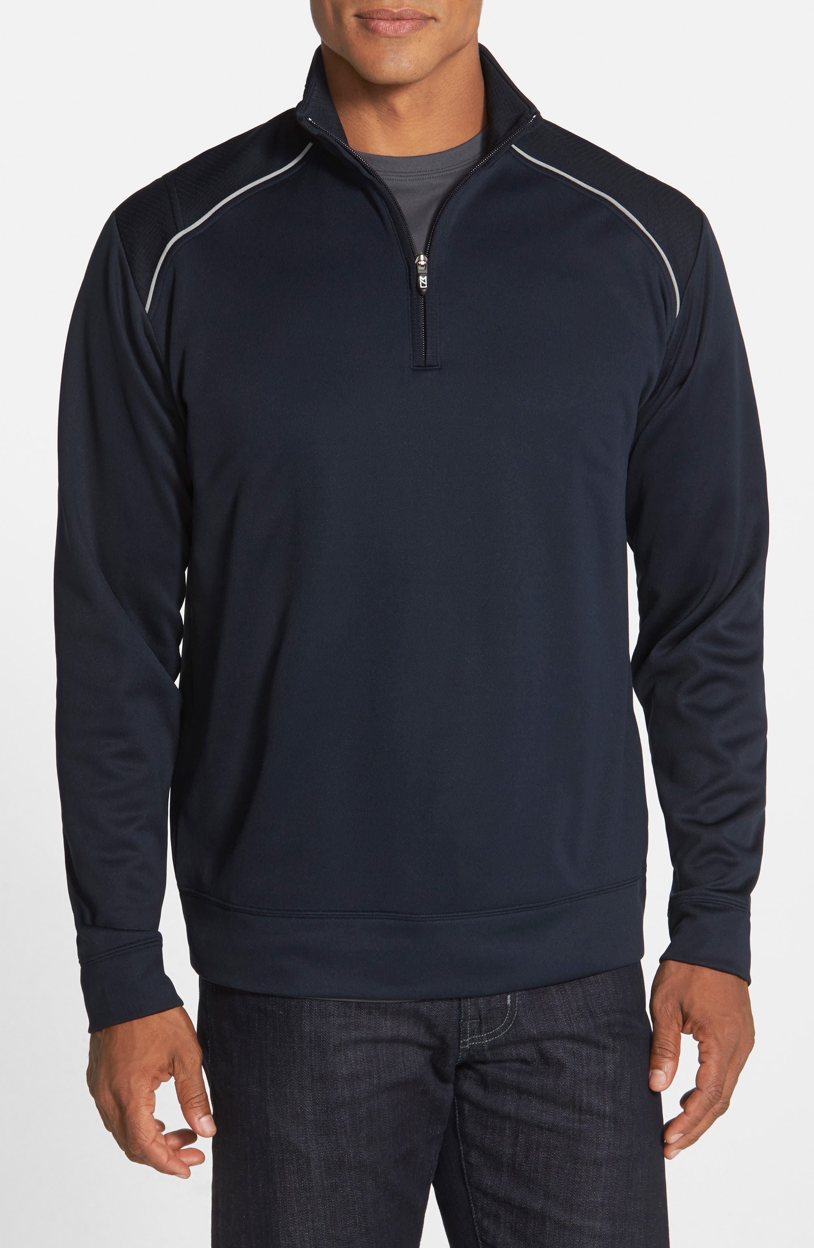 CUTTER & BUCK, Ridge WeatherTec Wind & Water Resistant Pullover, Alternate thumbnail 3, color, NAVY BLUE