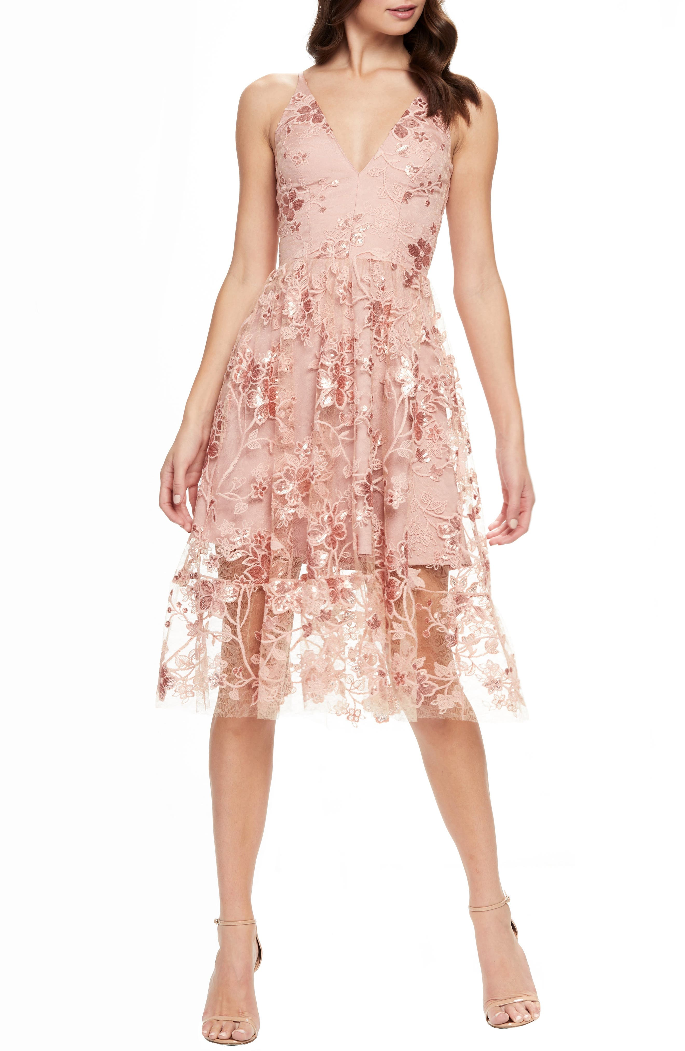 DRESS THE POPULATION, Ally 3D Floral Mesh Cocktail Dress, Main thumbnail 1, color, DUSTY PINK