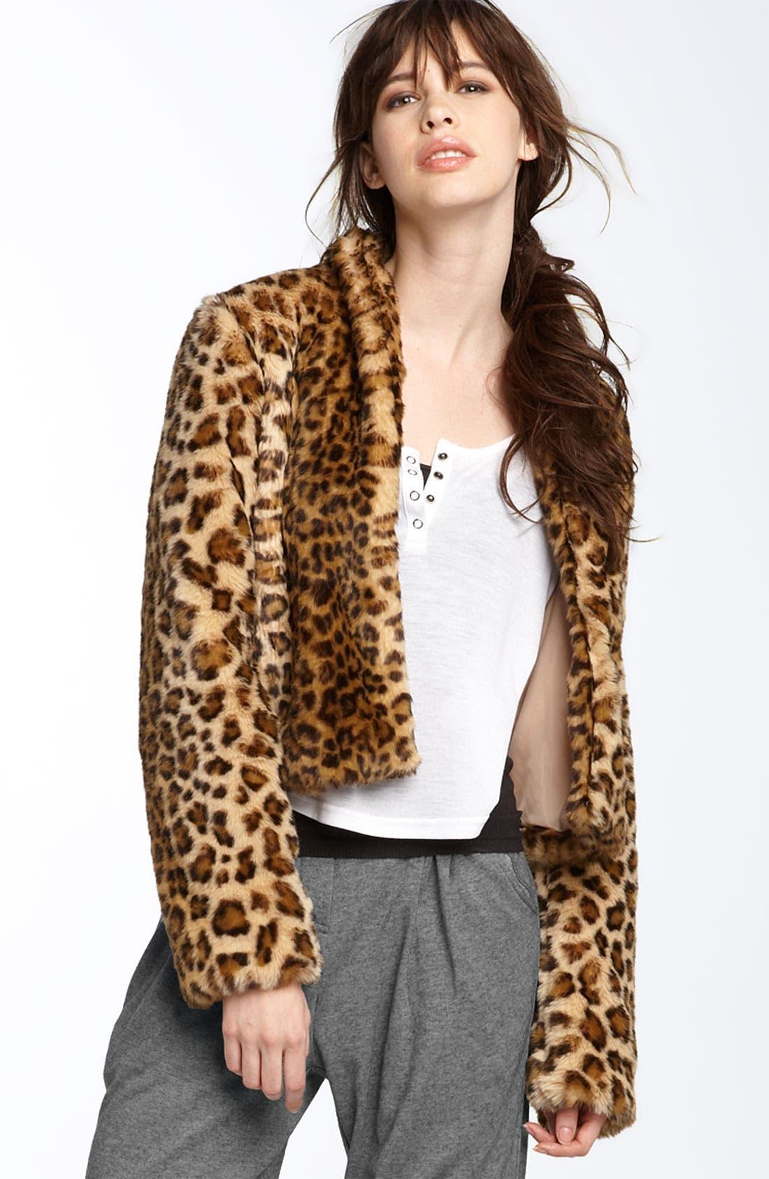 TROUVÉ, Leopard Print Faux Fur Jacket, Main thumbnail 1, color, 200