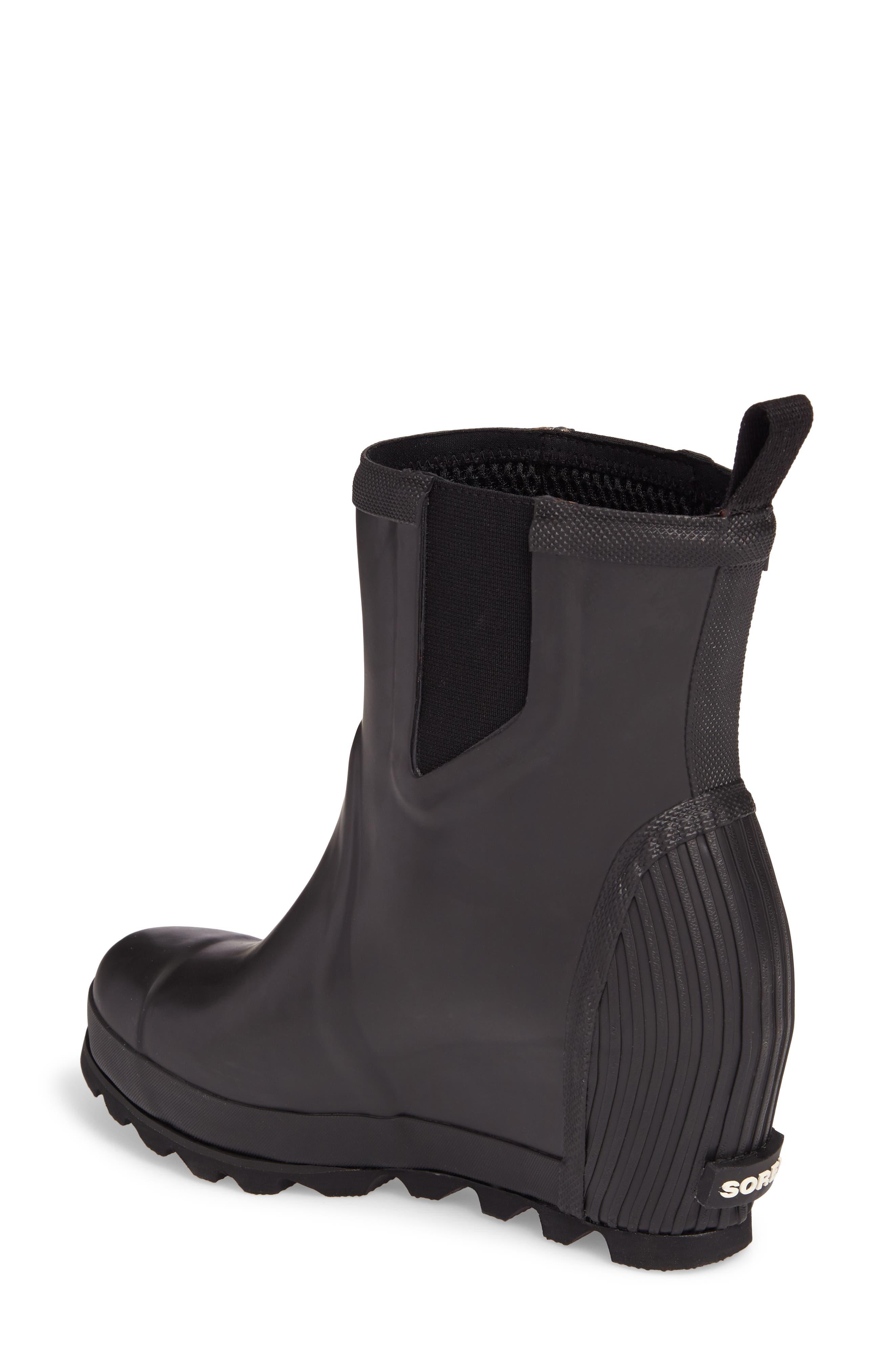 SOREL, Joan of Arctic<sup>™</sup> Wedge Chelsea Rain Boot, Alternate thumbnail 2, color, 010