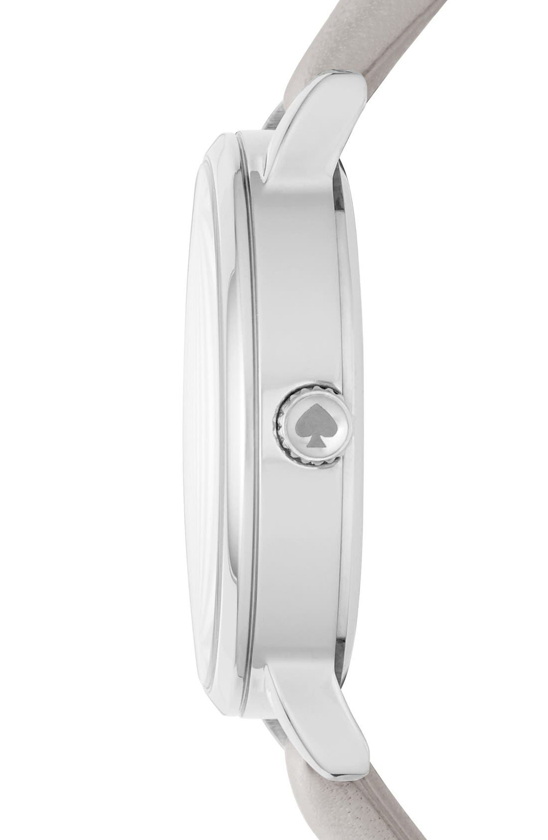 KATE SPADE NEW YORK, 'metro' round leather strap watch, 34mm, Alternate thumbnail 2, color, GREY/ MOTHER OF PEARL
