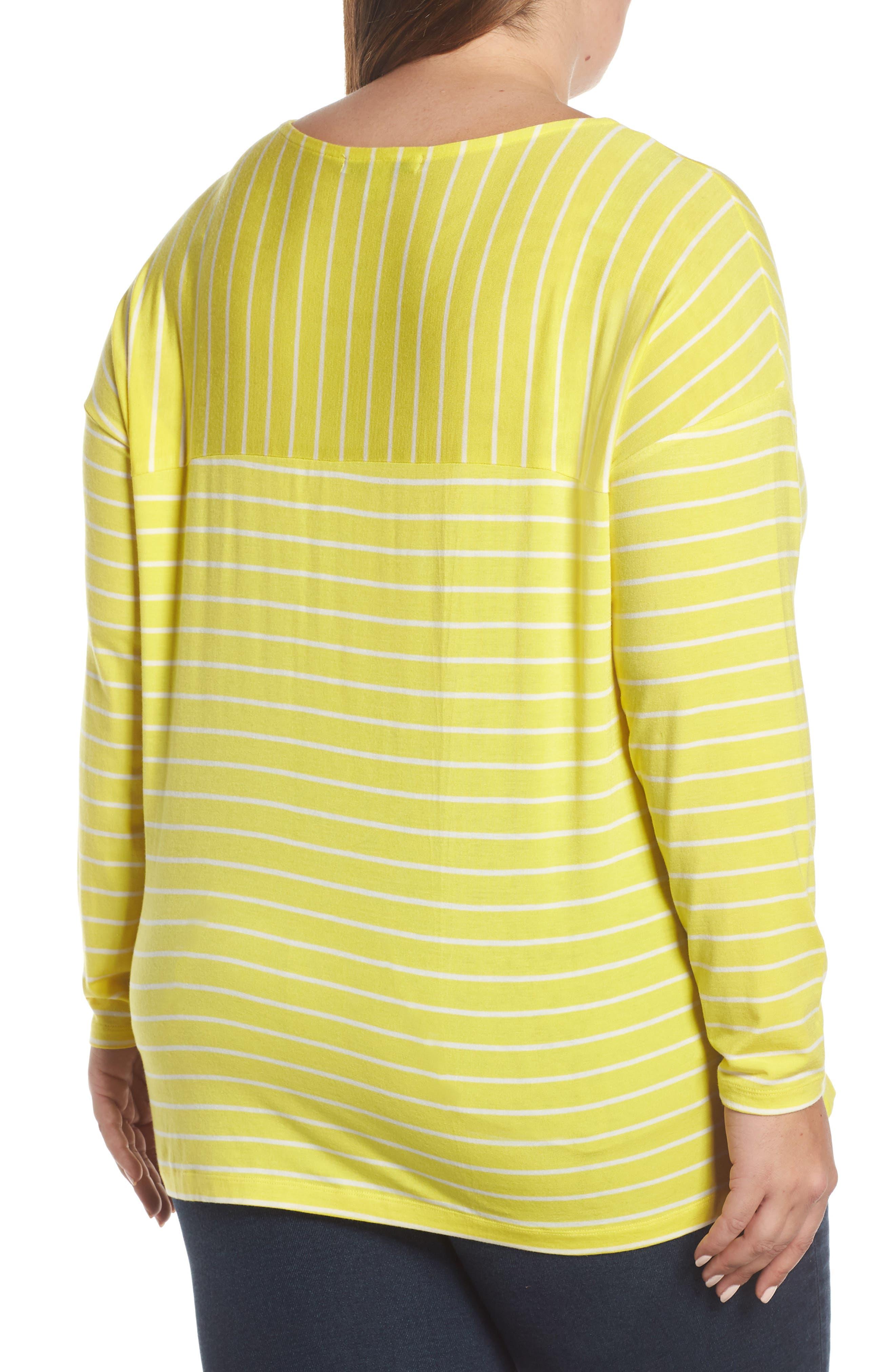 SEJOUR, Stripe Long Sleeve Tee, Alternate thumbnail 2, color, YELLOW ANYA STRIPE