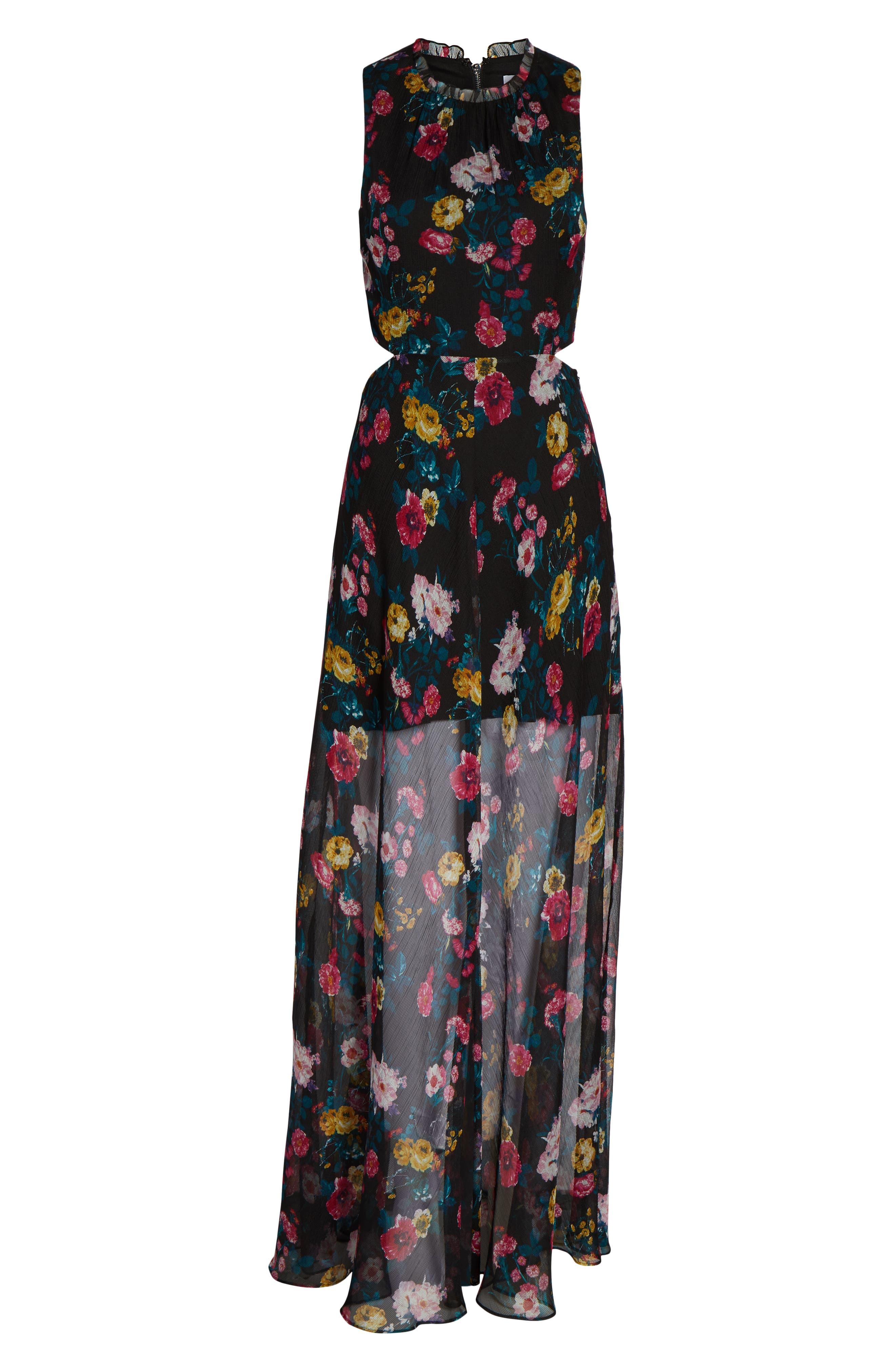 ALI & JAY, I've Got Wings Floral Chiffon Maxi Dress, Alternate thumbnail 7, color, 001
