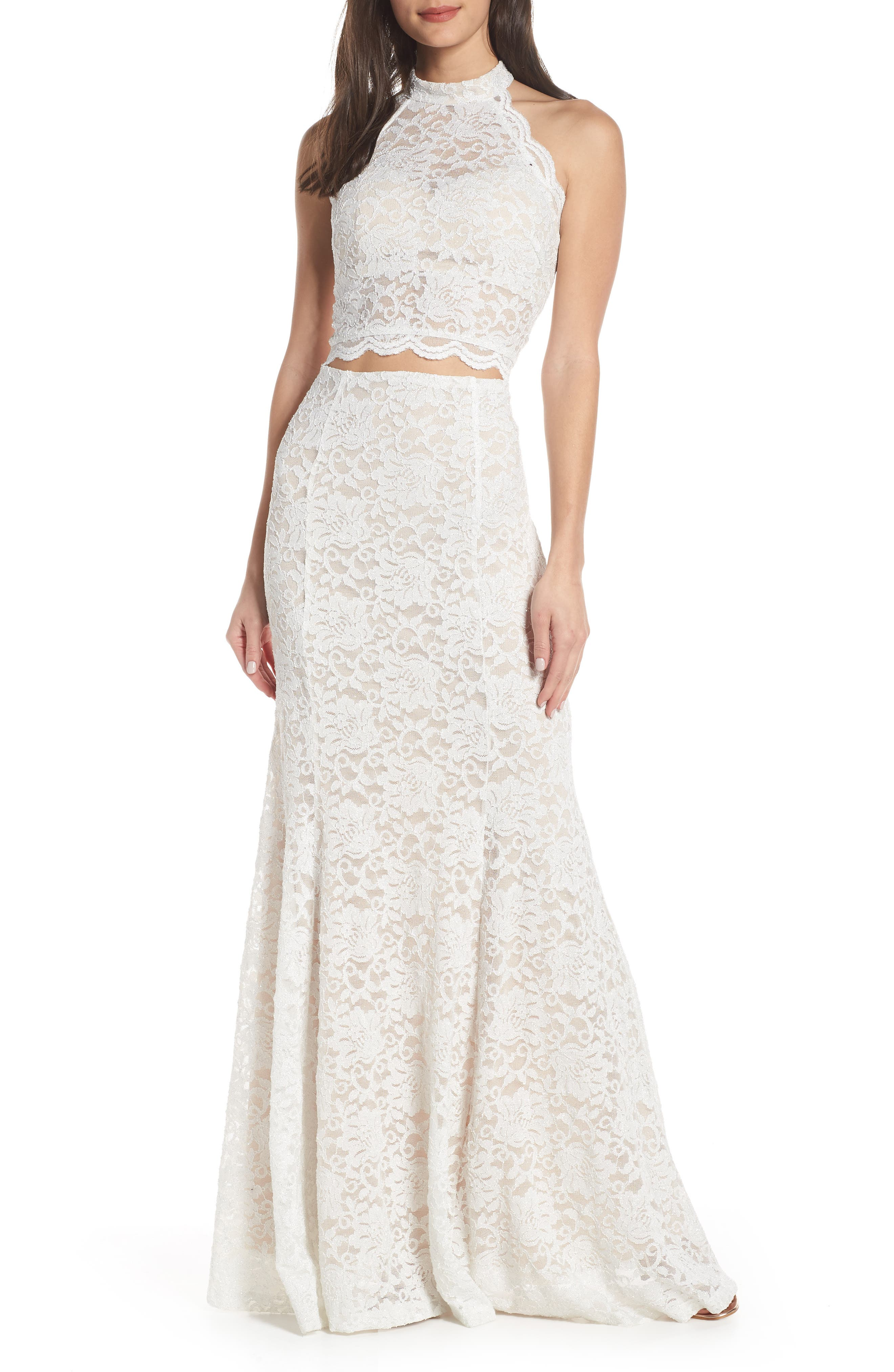 SEQUIN HEARTS Glitter Lace Two-Piece Gown, Main, color, 250