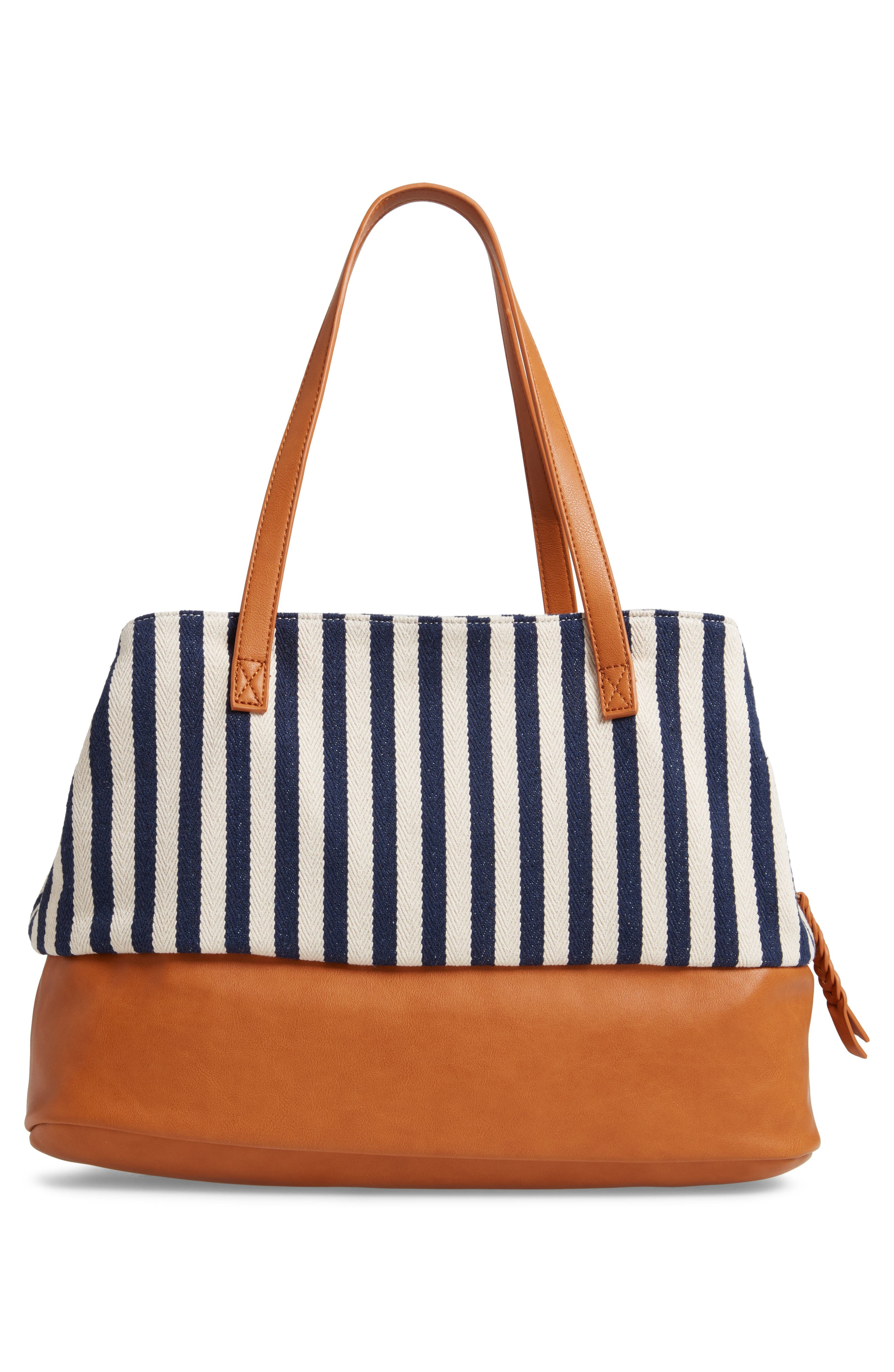 STREET LEVEL, Faux Leather Trim Weekend Bag with Shoe Base, Alternate thumbnail 4, color, 400