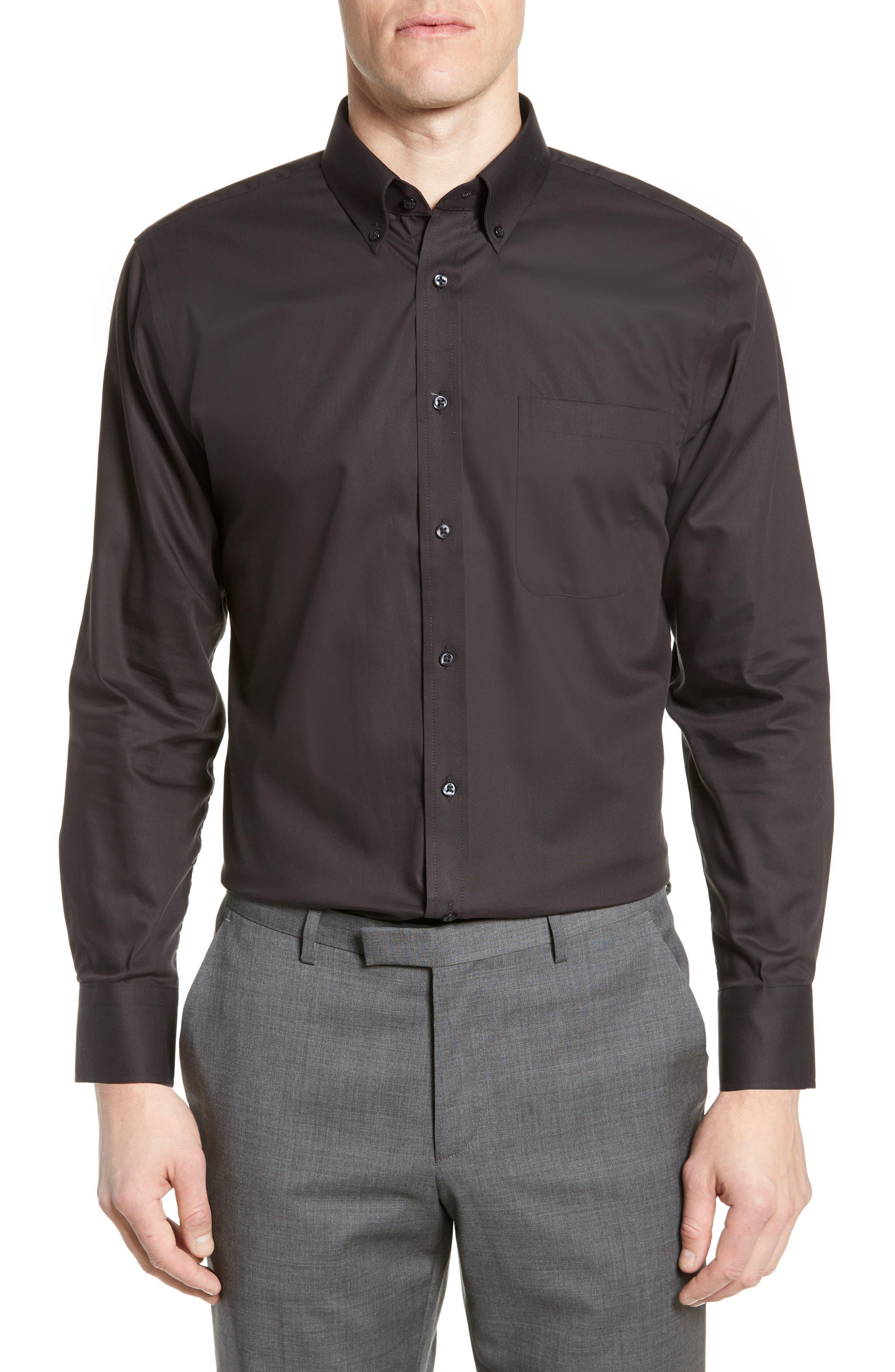 NORDSTROM MEN'S SHOP, Trim Fit Non-Iron Dress Shirt, Main thumbnail 1, color, BLACK