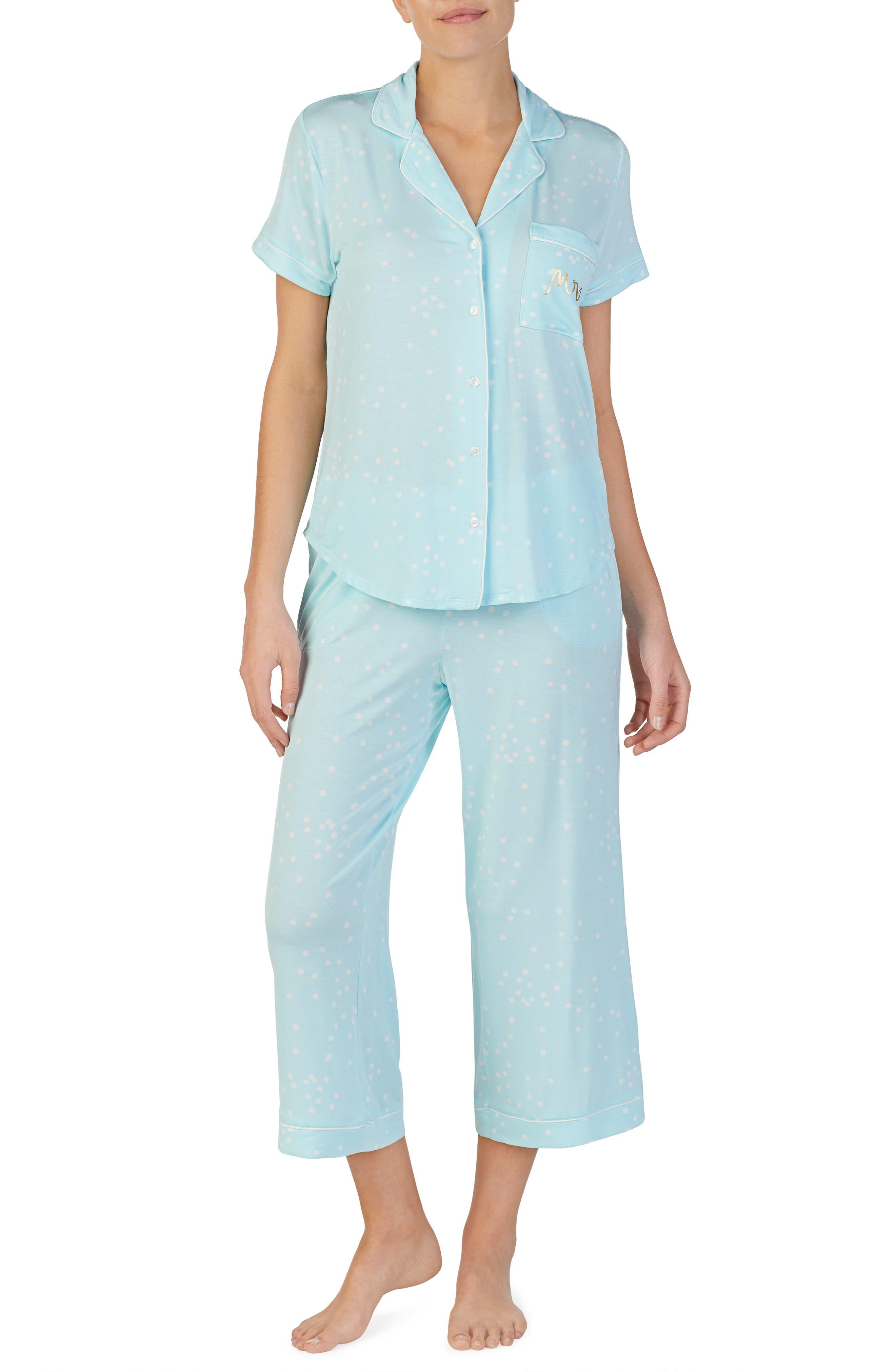 KATE SPADE NEW YORK, mrs crop pajamas, Main thumbnail 1, color, BRIDAL CONFETTI DOT