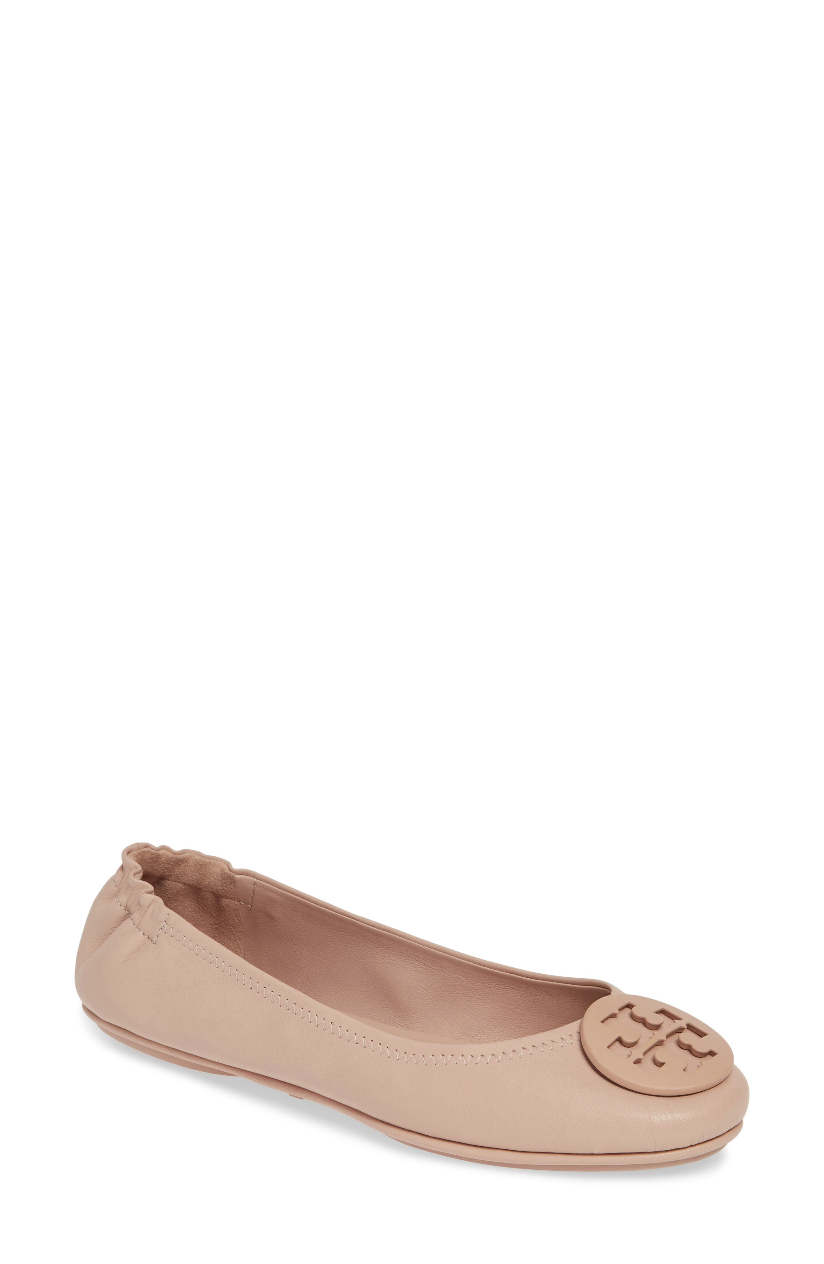 TORY BURCH 'Minnie' Travel Ballet Flat, Main, color, GOAN SAND/ SAND