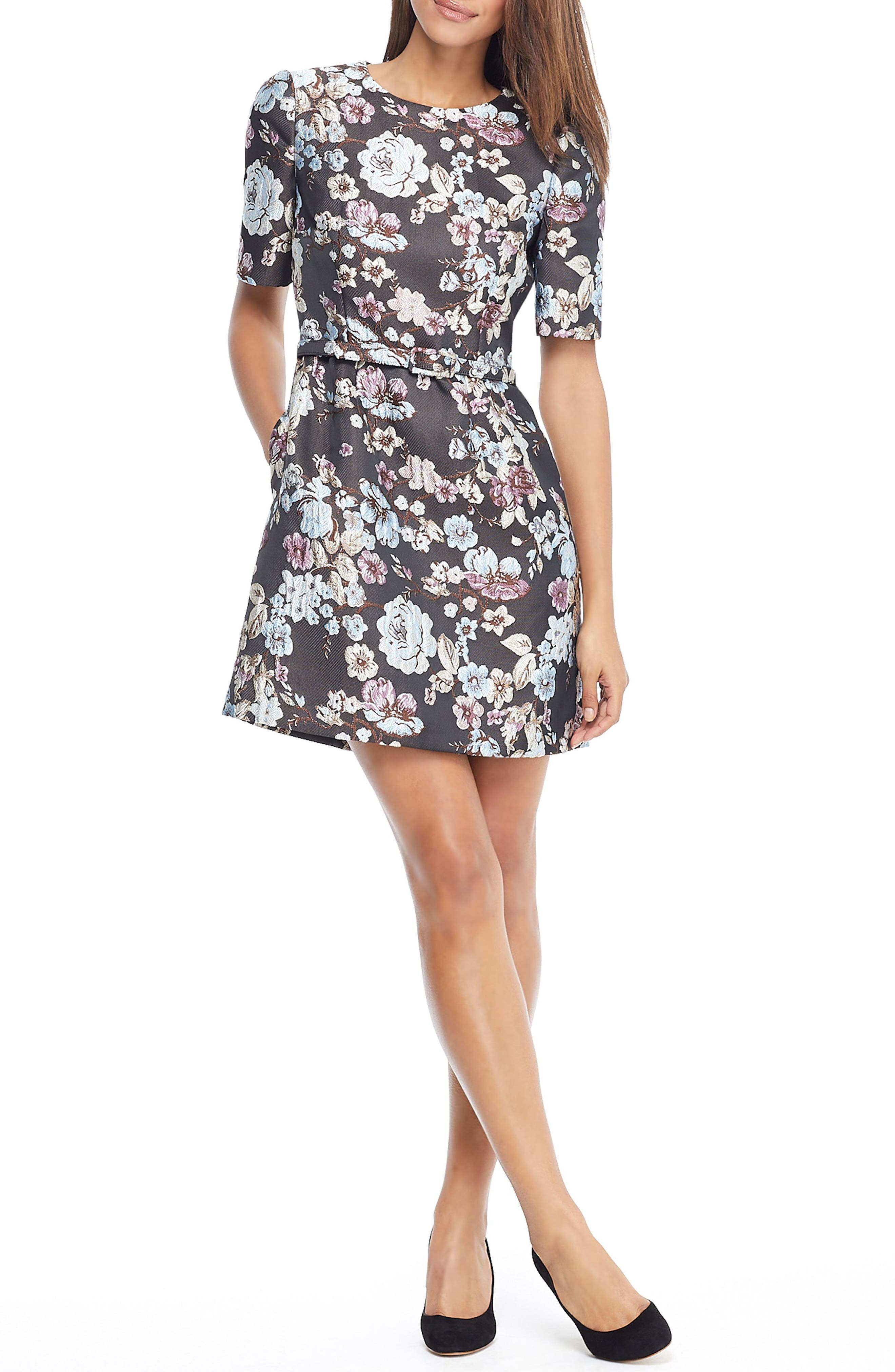 GAL MEETS GLAM COLLECTION Presley Tapestry Jacquard Dress, Main, color, BROWN MULTI