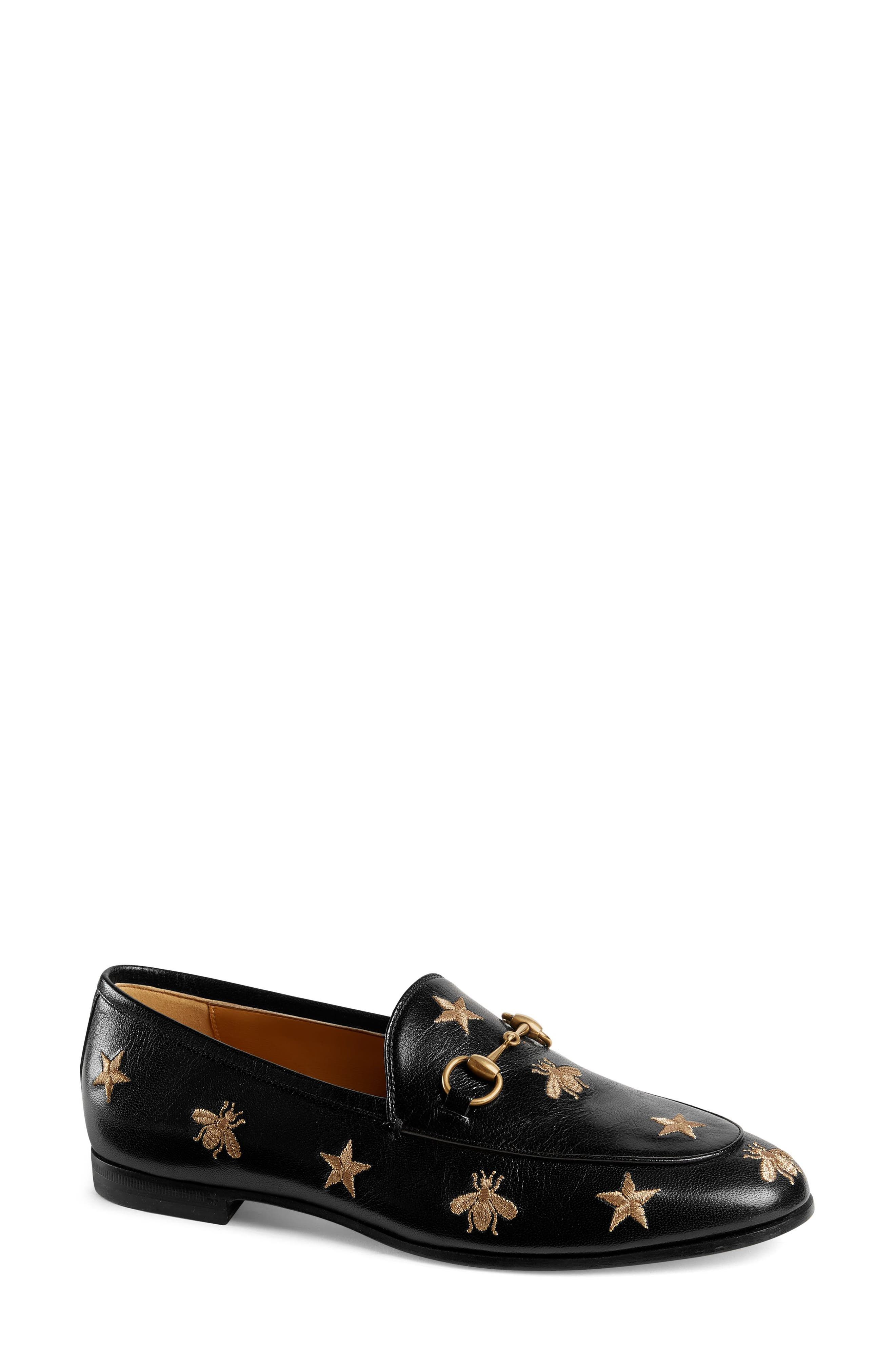 GUCCI, Jordaan Embroidered Bee Loafer, Main thumbnail 1, color, BLACK