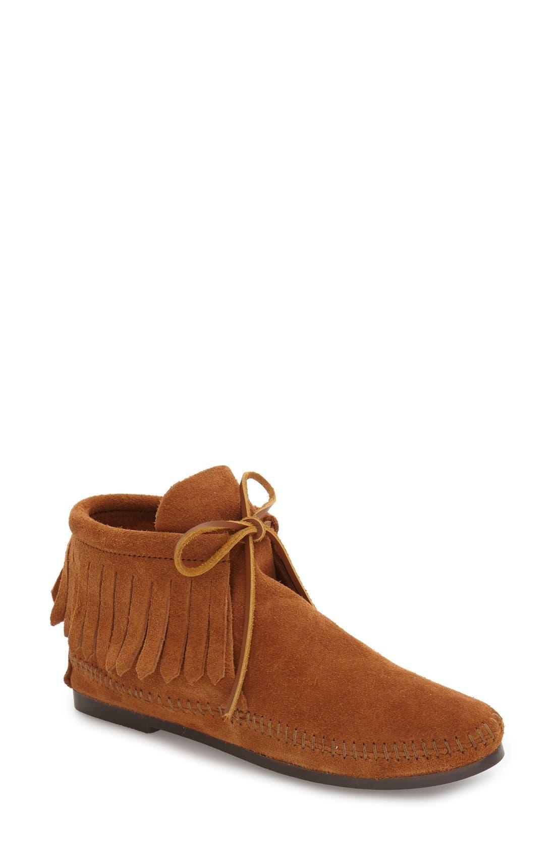 MINNETONKA, Classic Fringed Chukka Style Boot, Main thumbnail 1, color, BROWN