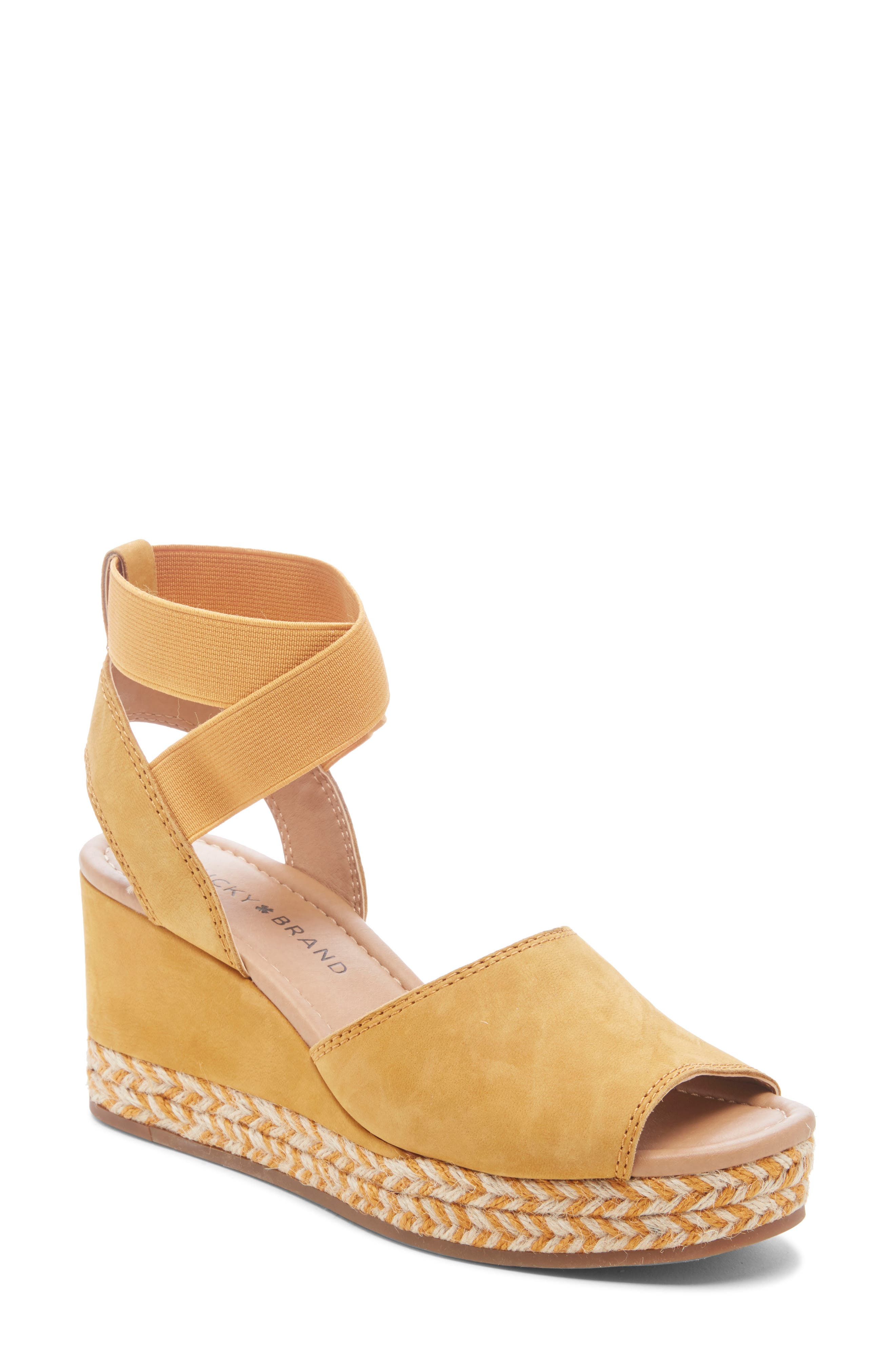 Lucky Brand Bettanie Espadrille Wedge Sandal- Yellow