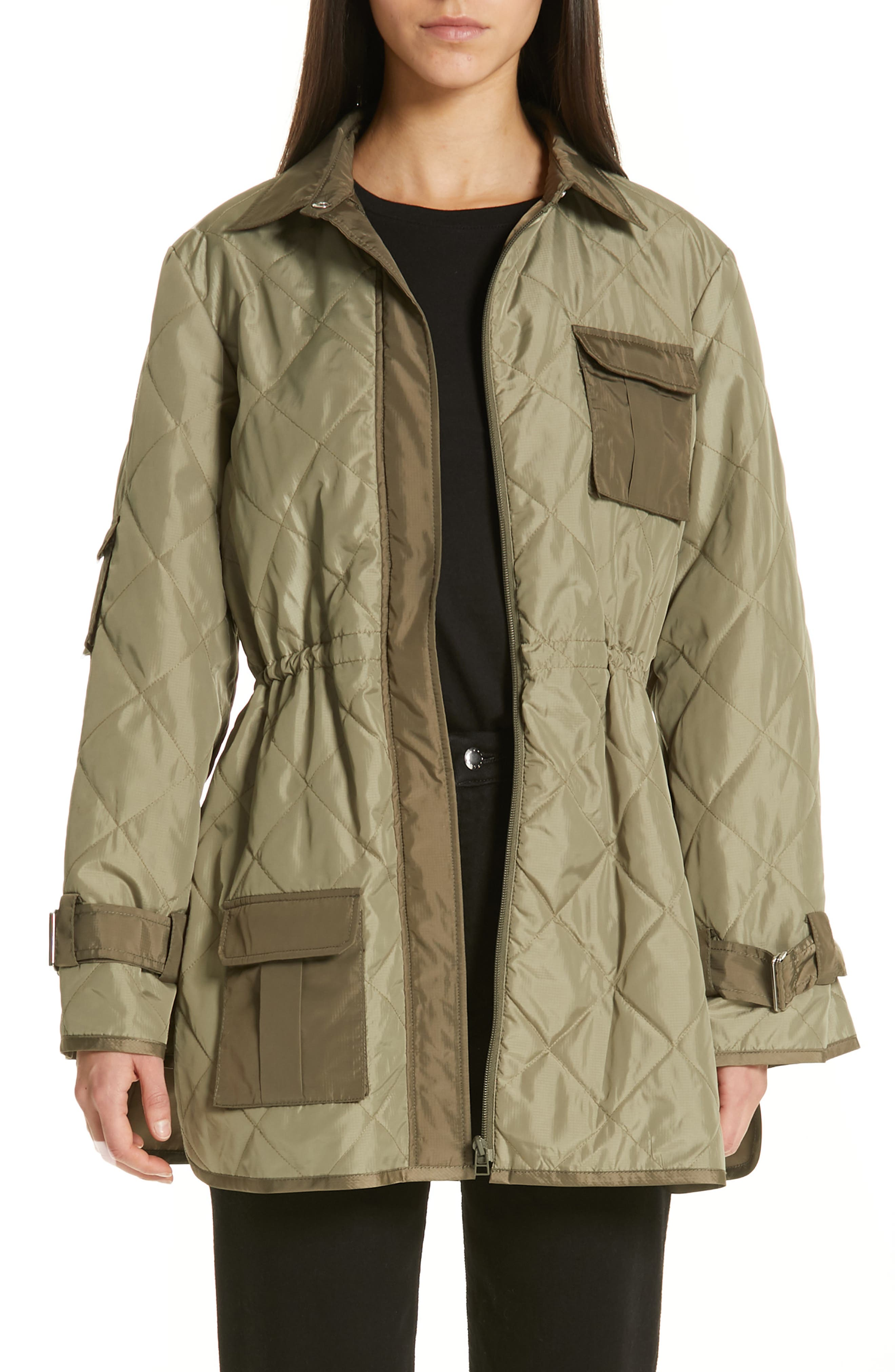 GANNI Quilted Ripstop Jacket, Main, color, ALOE