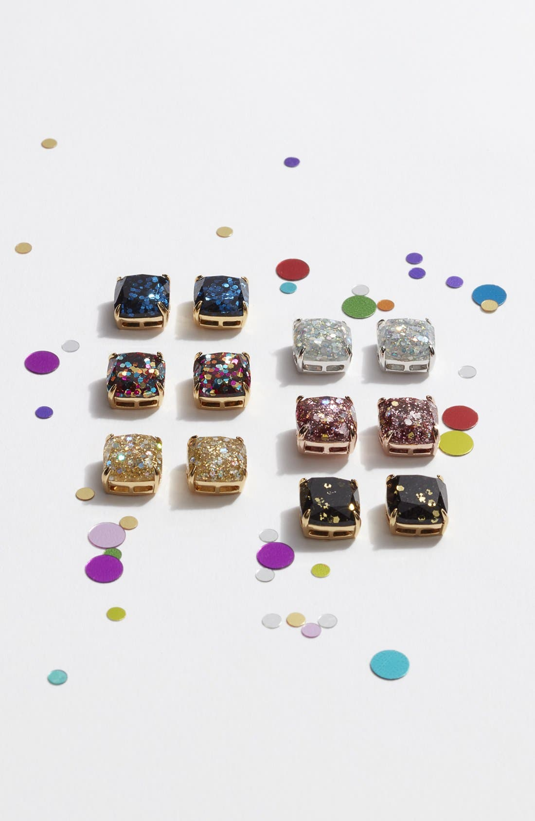 KATE SPADE NEW YORK, mini small square stud earrings, Alternate thumbnail 3, color, 650