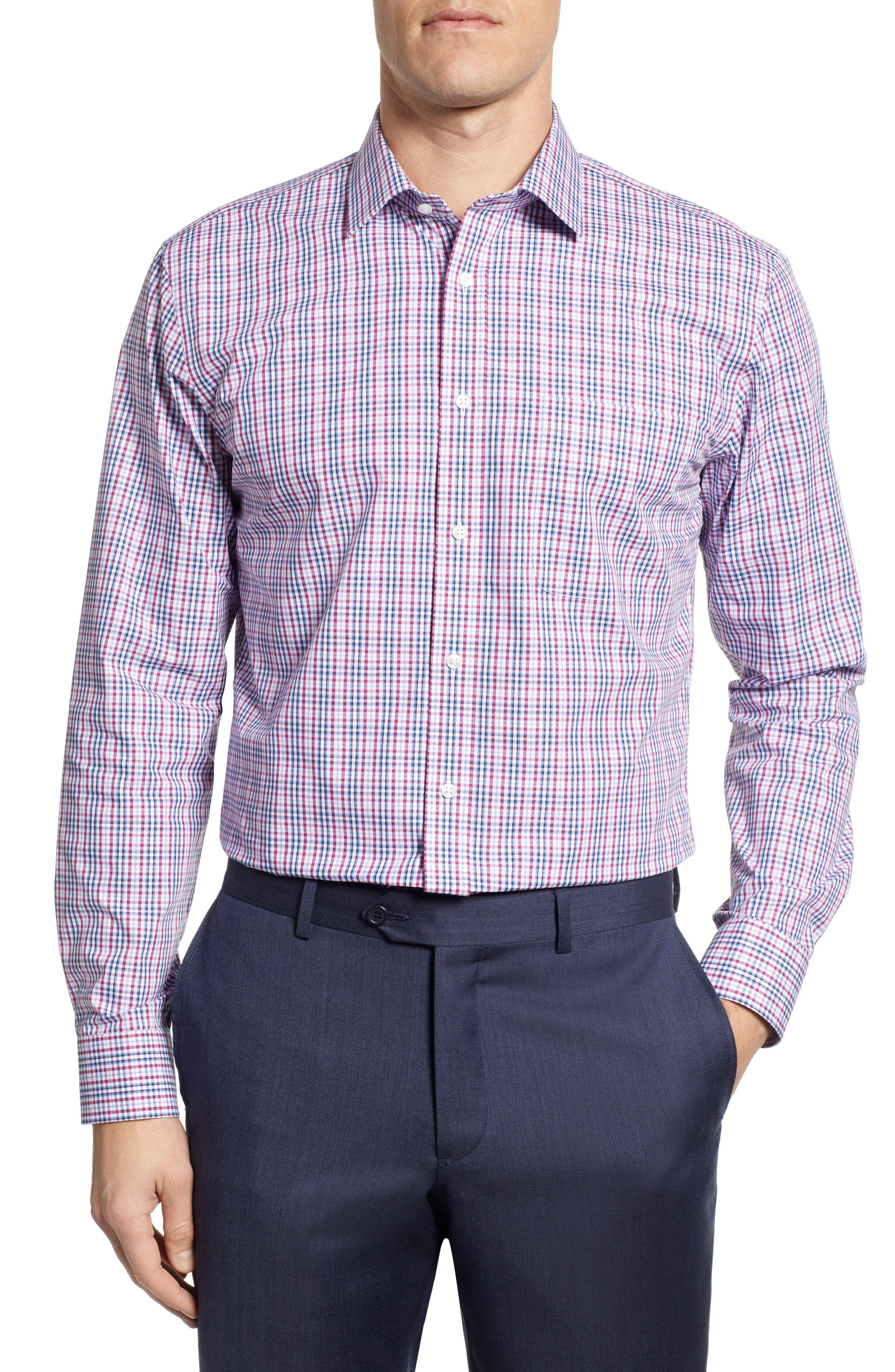 NORDSTROM MEN'S SHOP, Non-Iron Trim Fit Plaid Dress Shirt, Main thumbnail 1, color, PURPLE BOYSEN