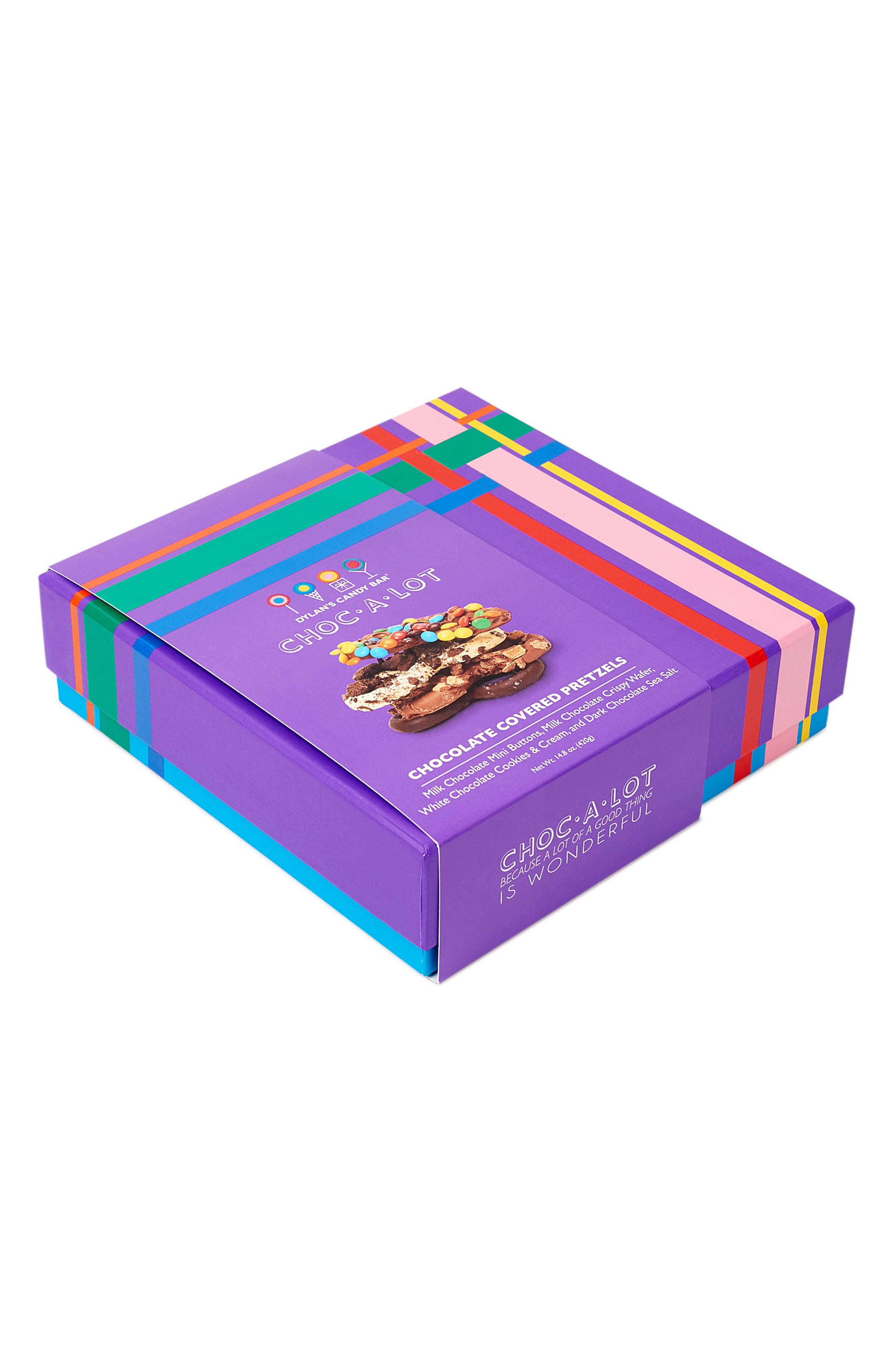 DYLAN'S CANDY BAR, Choc-A-Lot Chocolate Covered Pretzels, Alternate thumbnail 3, color, PURPLE