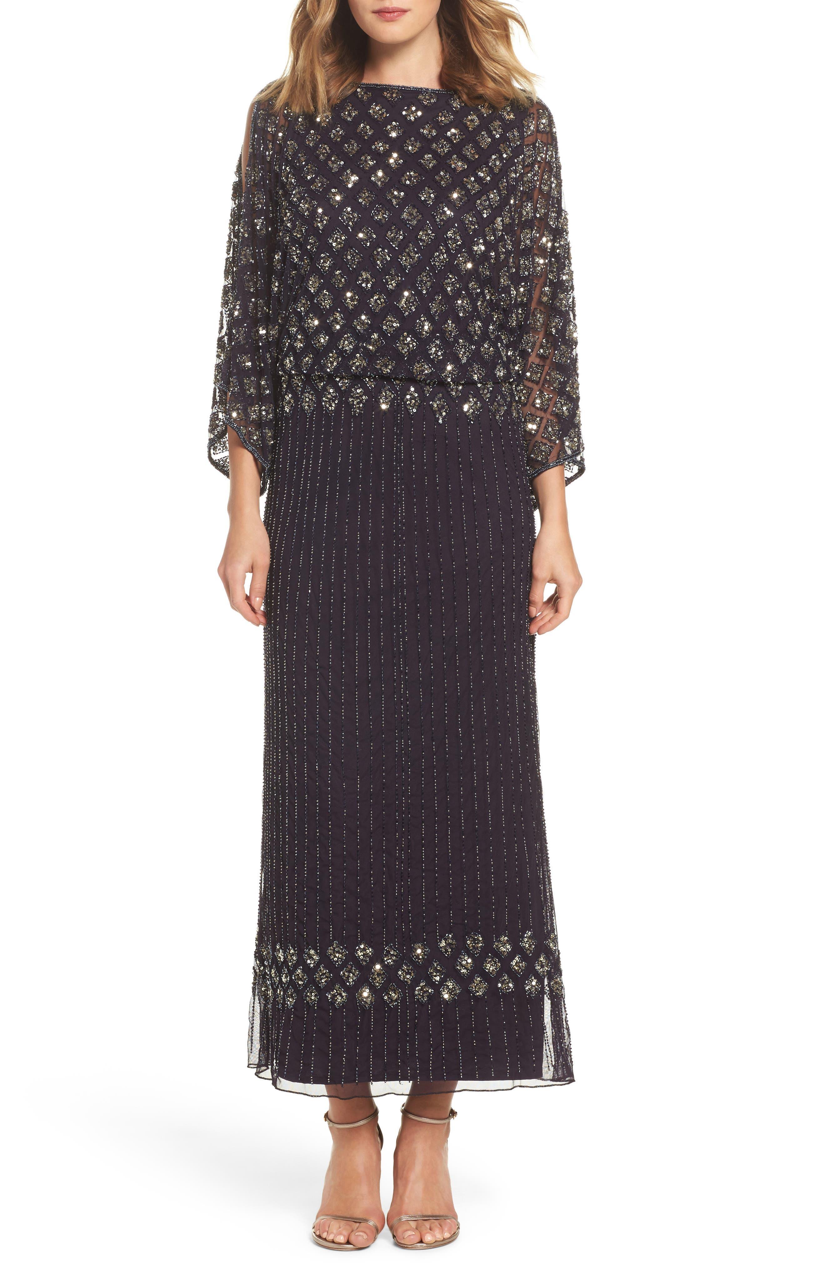 PISARRO NIGHTS Diamond Motif Mesh Blouson Gown, Main, color, 503