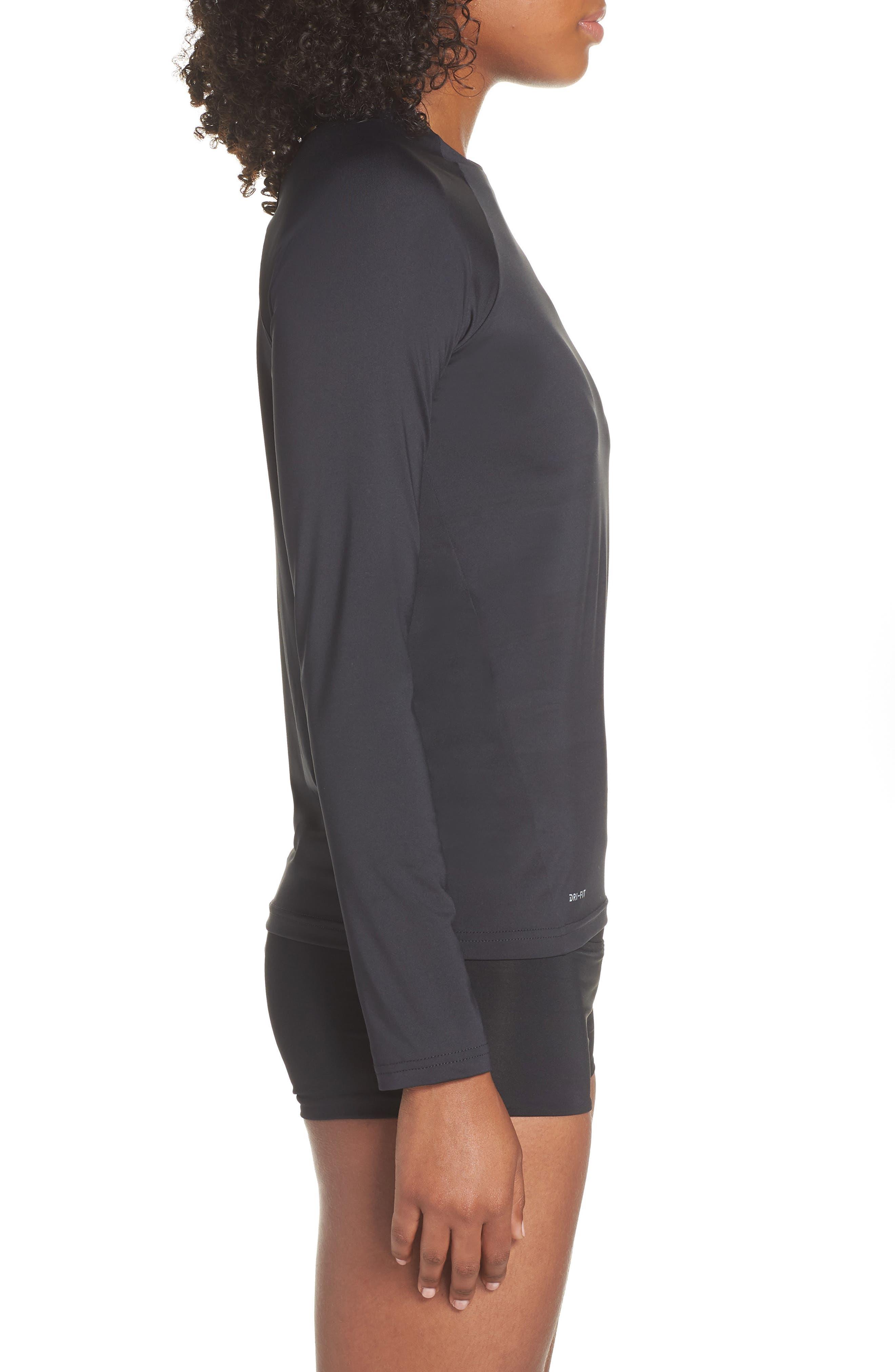NIKE, Long Sleeve Hydroguard Shirt, Alternate thumbnail 4, color, BLACK