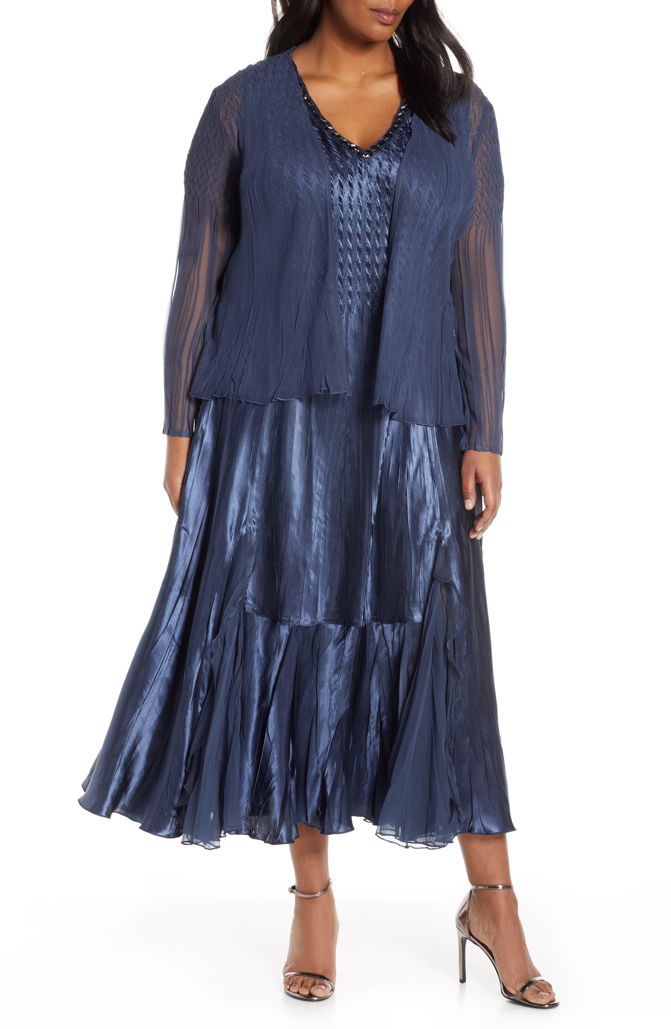 Plus Size Komarov Embellished Midi Dress With Jacket, Blue