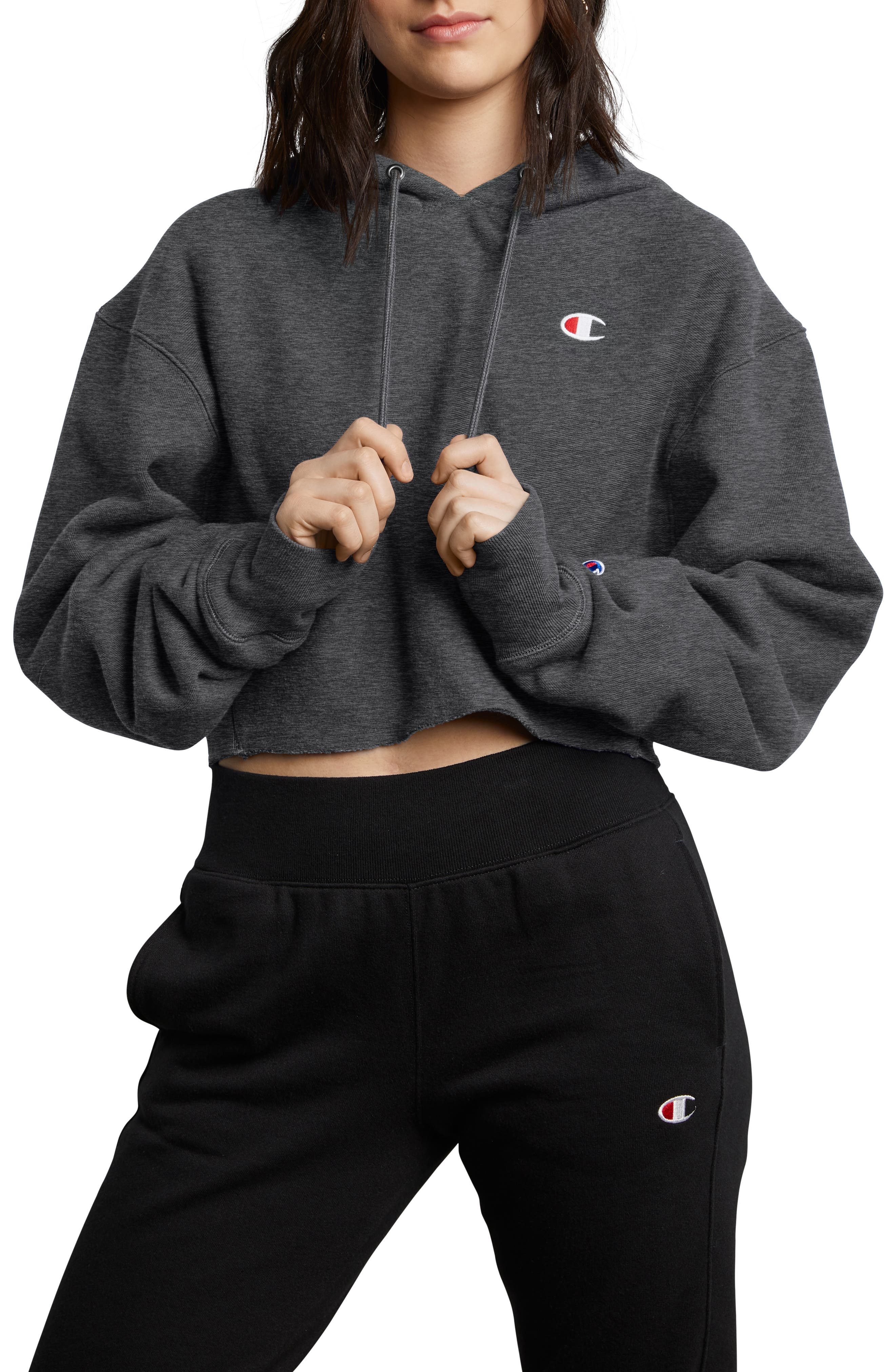 CHAMPION, Reverse Weave Crop Hoodie, Main thumbnail 1, color, GRANITE HEATHER