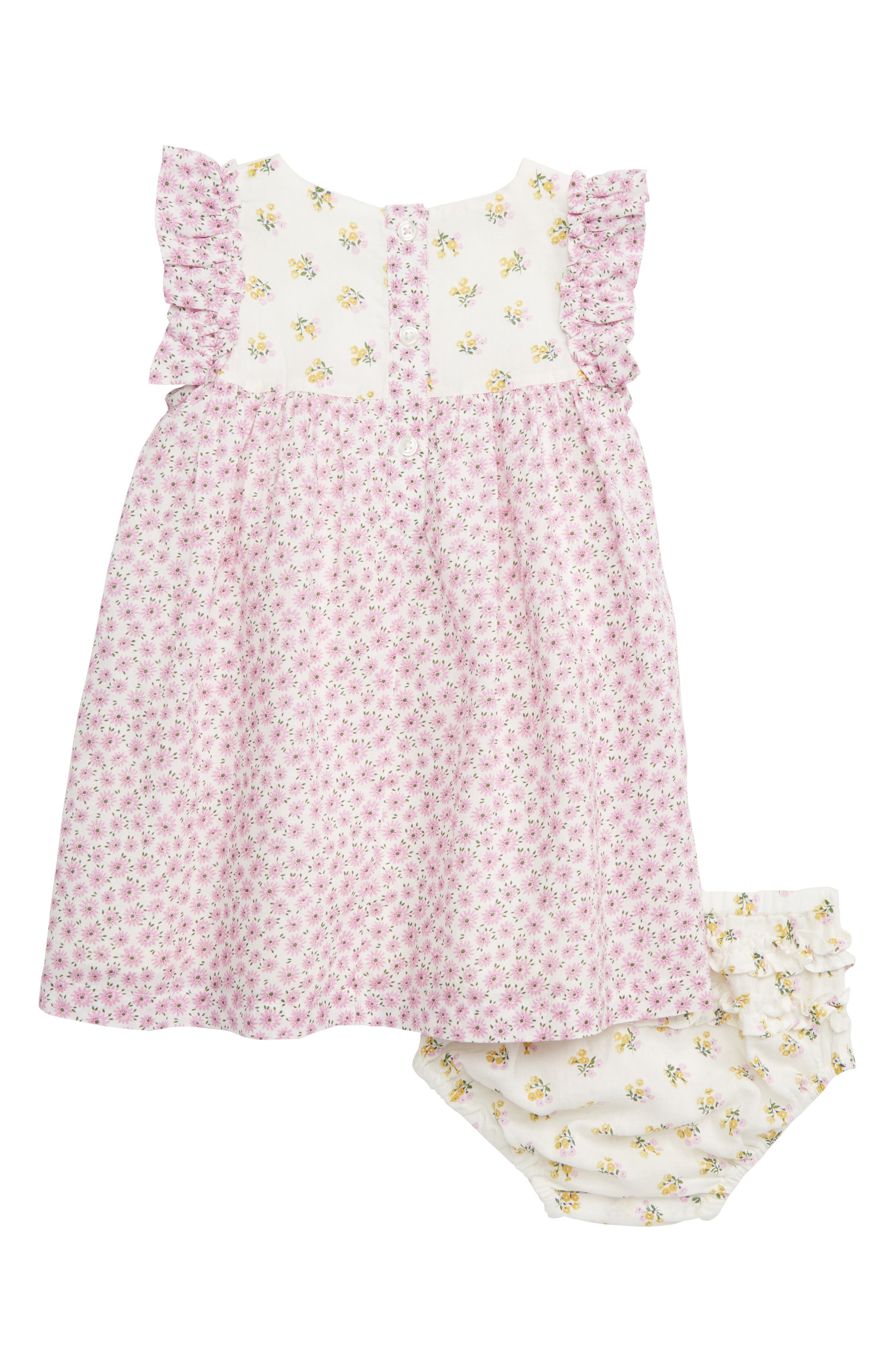 MINI BODEN, Mixed Floral Print Woven Dress, Alternate thumbnail 2, color, PRP LILAC PINK BLOSSOM