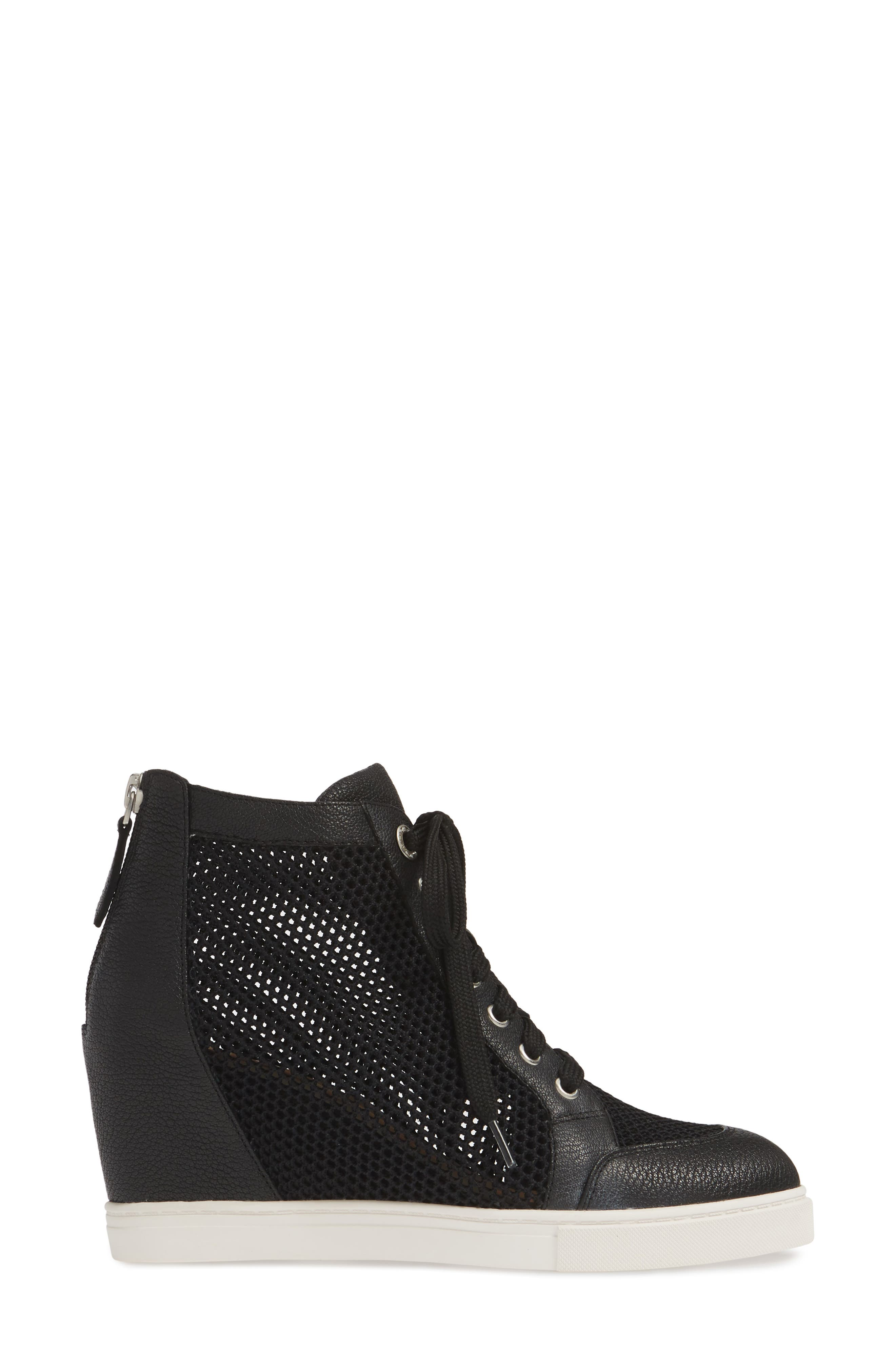 LINEA PAOLO, Finian Mesh Wedge Sneaker Bootie, Alternate thumbnail 3, color, BLACK LEATHER