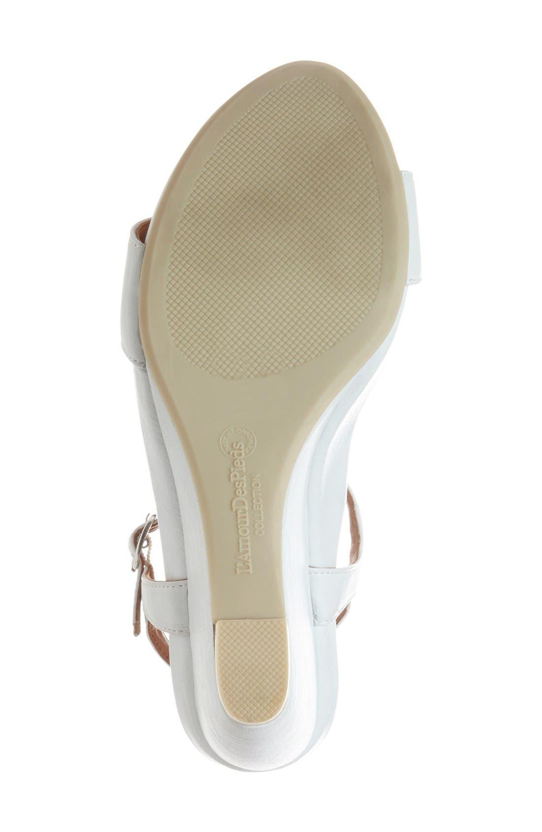 L'AMOUR DES PIEDS, Idelle' Platform Wedge Sandal, Alternate thumbnail 4, color, WHITE LEATHER