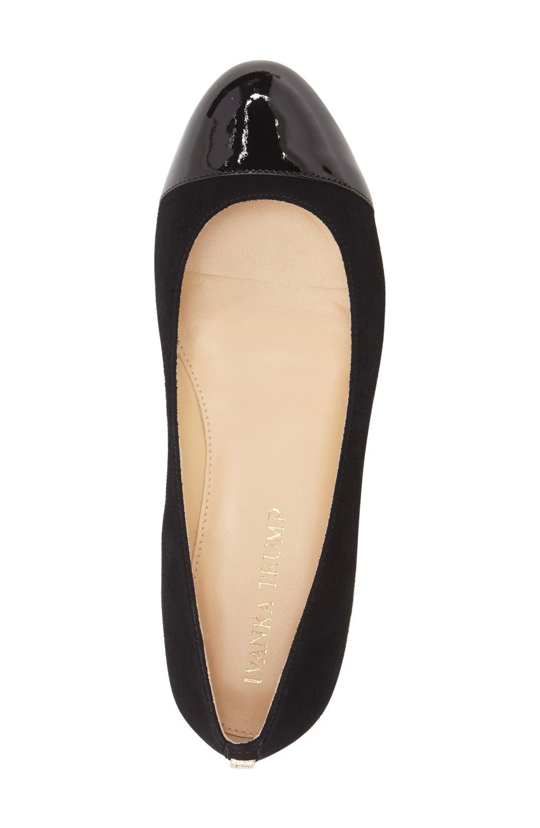 IVANKA TRUMP, 'Jocelyn' Cap Toe Flat, Alternate thumbnail 2, color, 001